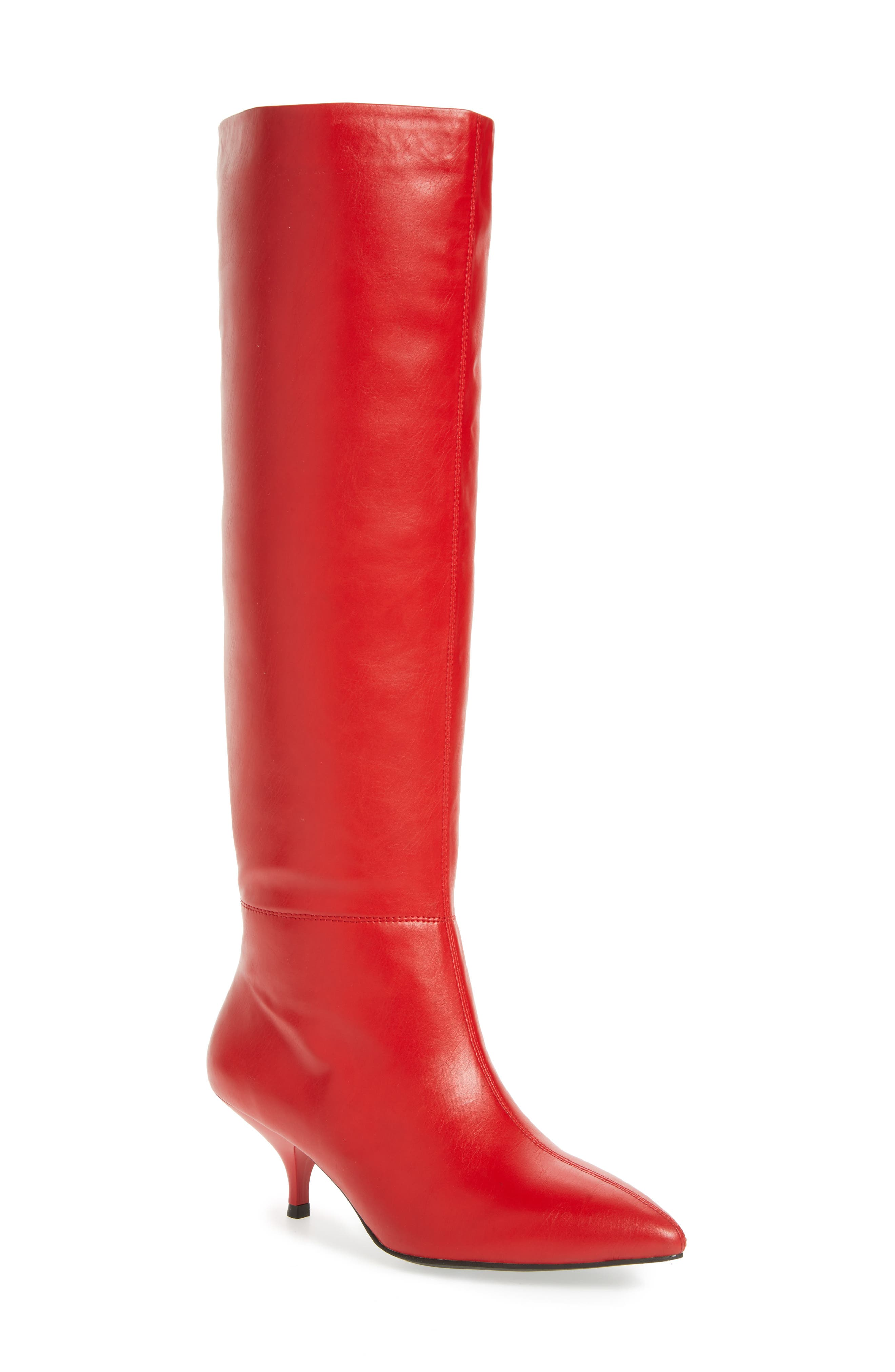 Germany Knee High Boot,                             Main thumbnail 1, color,                             Red