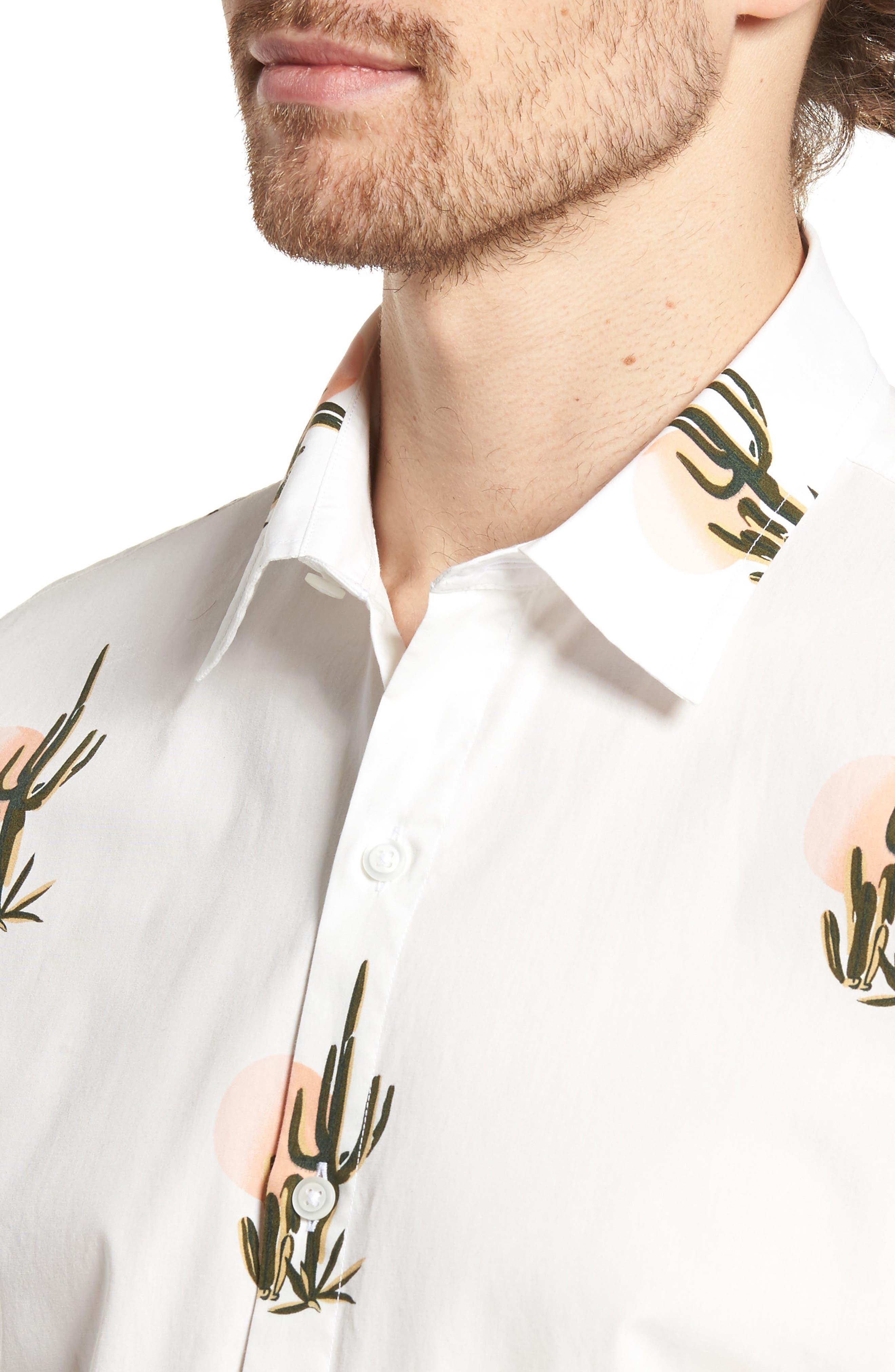 Slim Fit Print Short Sleeve Sport Shirt,                             Alternate thumbnail 2, color,                             Sunset Cacti - Sorbet