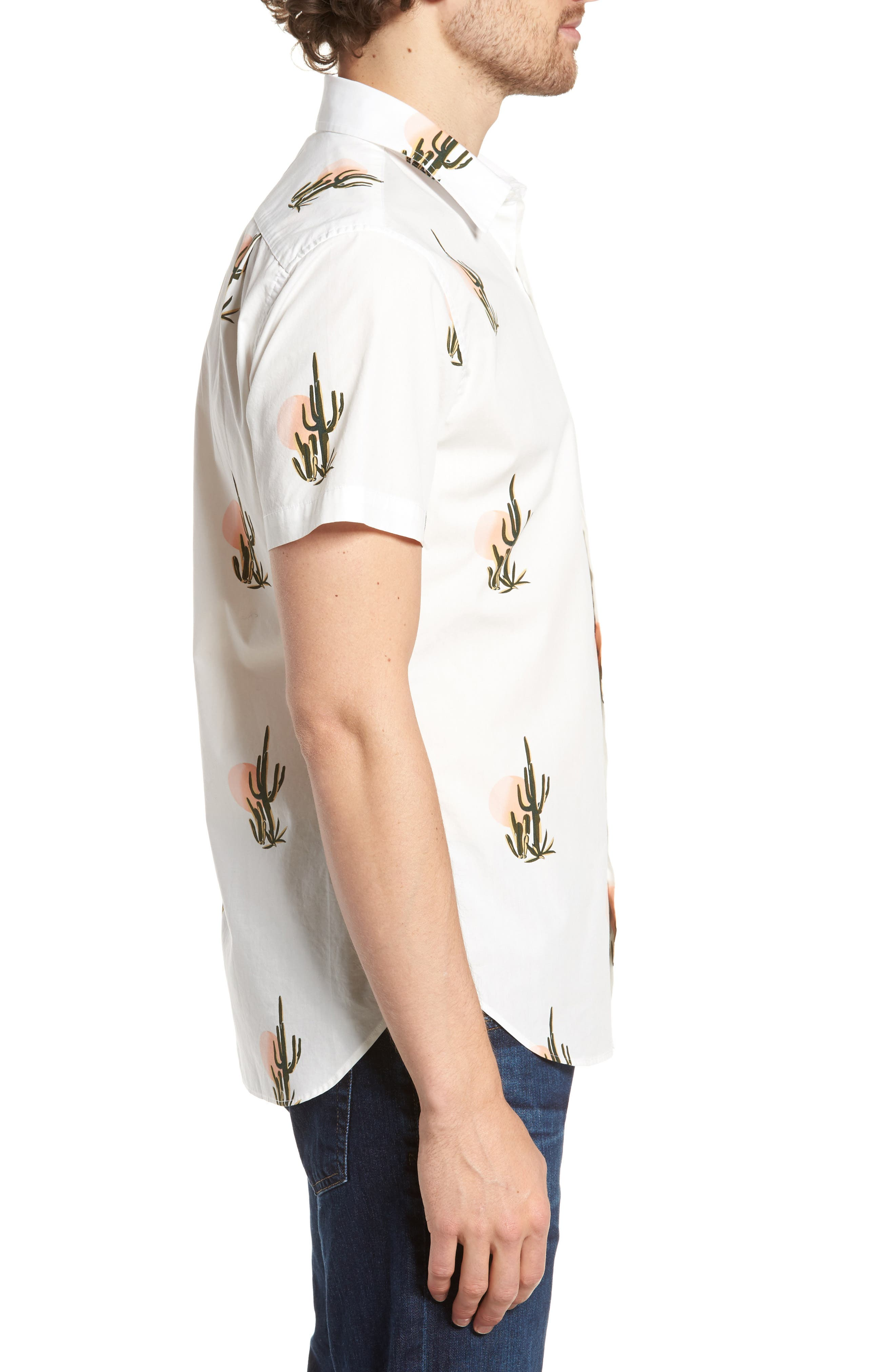 Slim Fit Print Short Sleeve Sport Shirt,                             Alternate thumbnail 4, color,                             Sunset Cacti - Sorbet