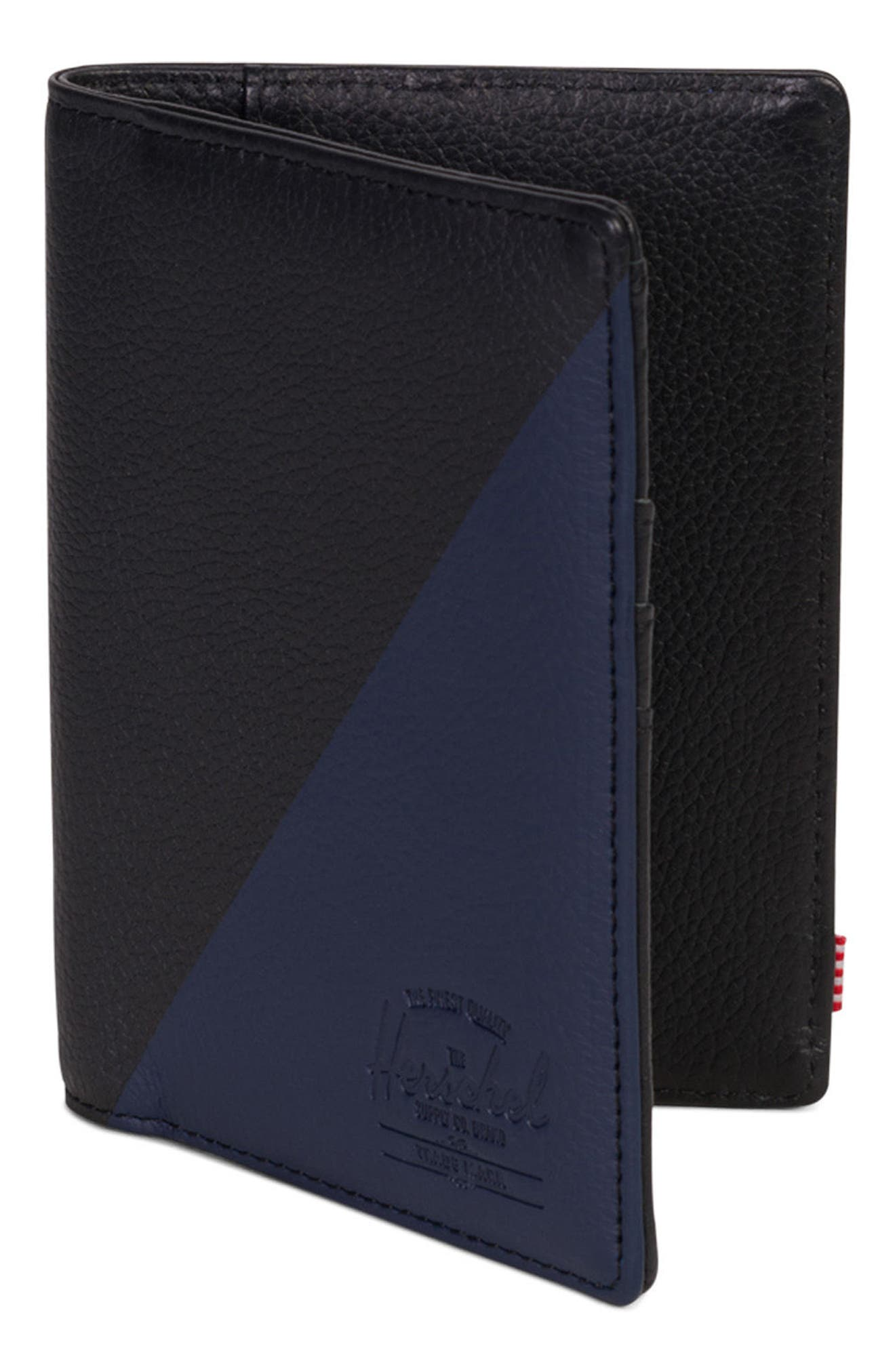 Raynor Offset Leather Wallet,                             Alternate thumbnail 3, color,                             Black