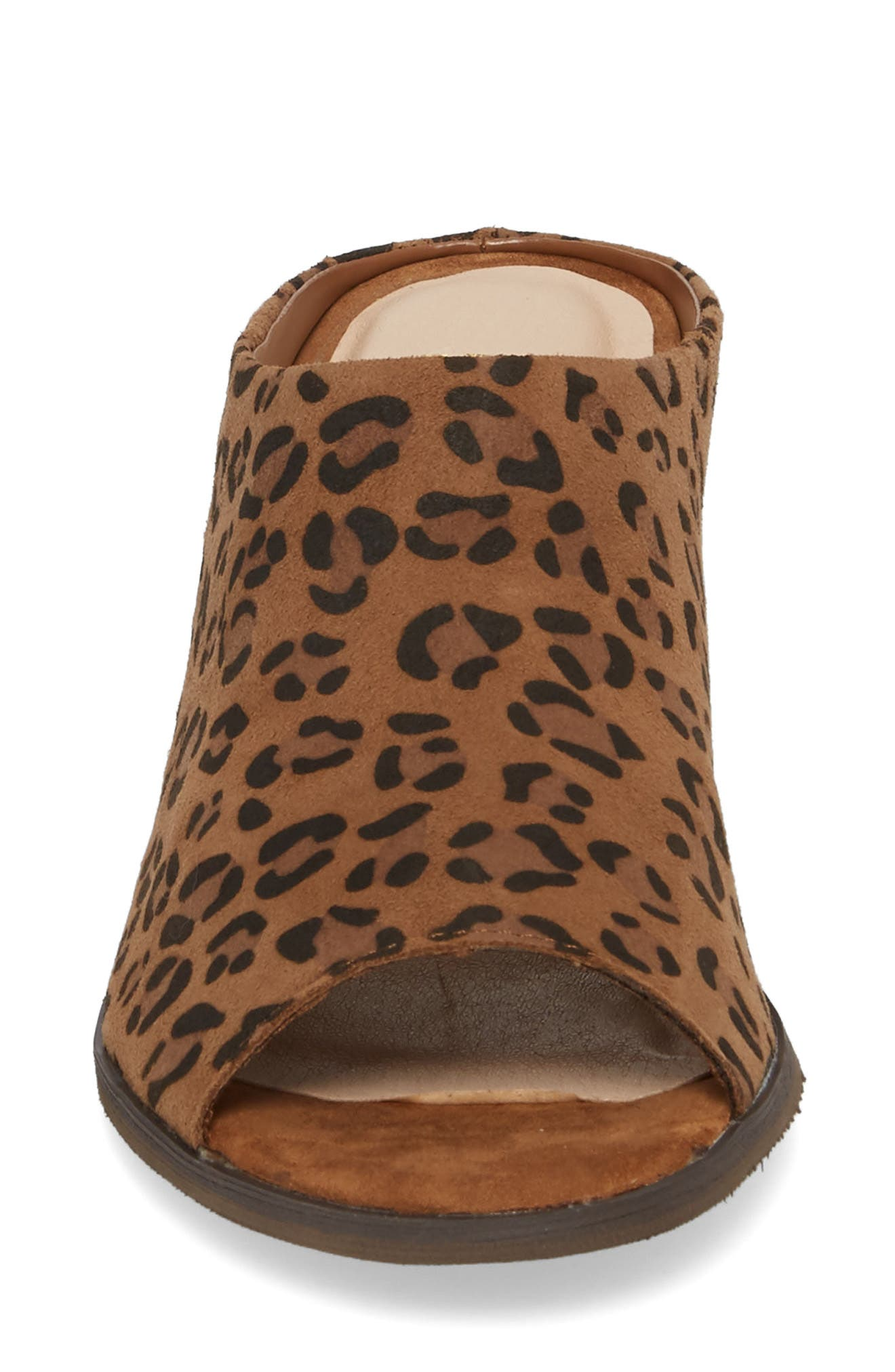 Jerome Mule Sandal,                             Alternate thumbnail 4, color,                             Tan Leopard Suede