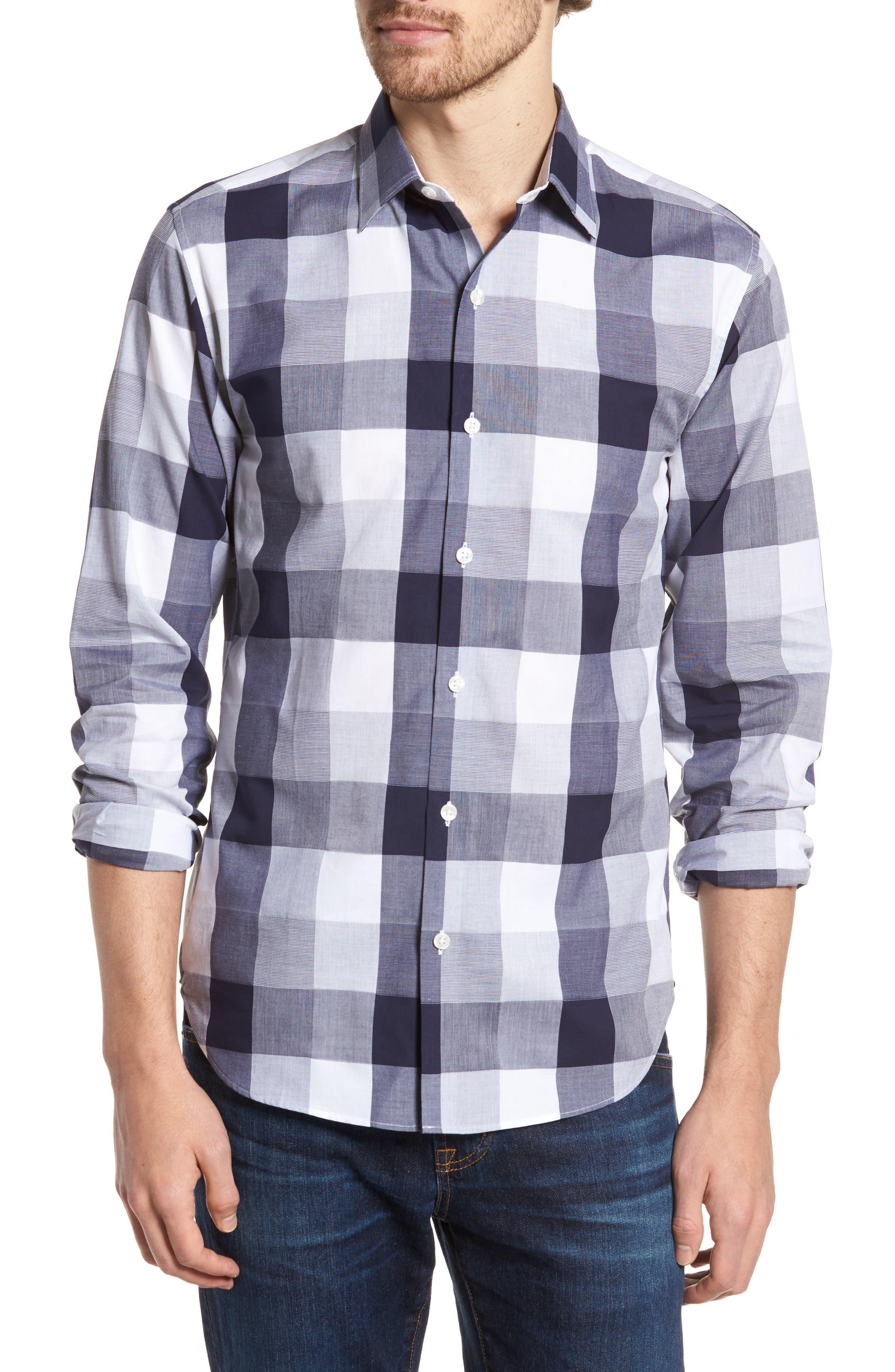 Unbutton Down 2.0 Slim Fit Buffalo Check Sport Shirt,                         Main,                         color, Thomas Check - Maritime Blue