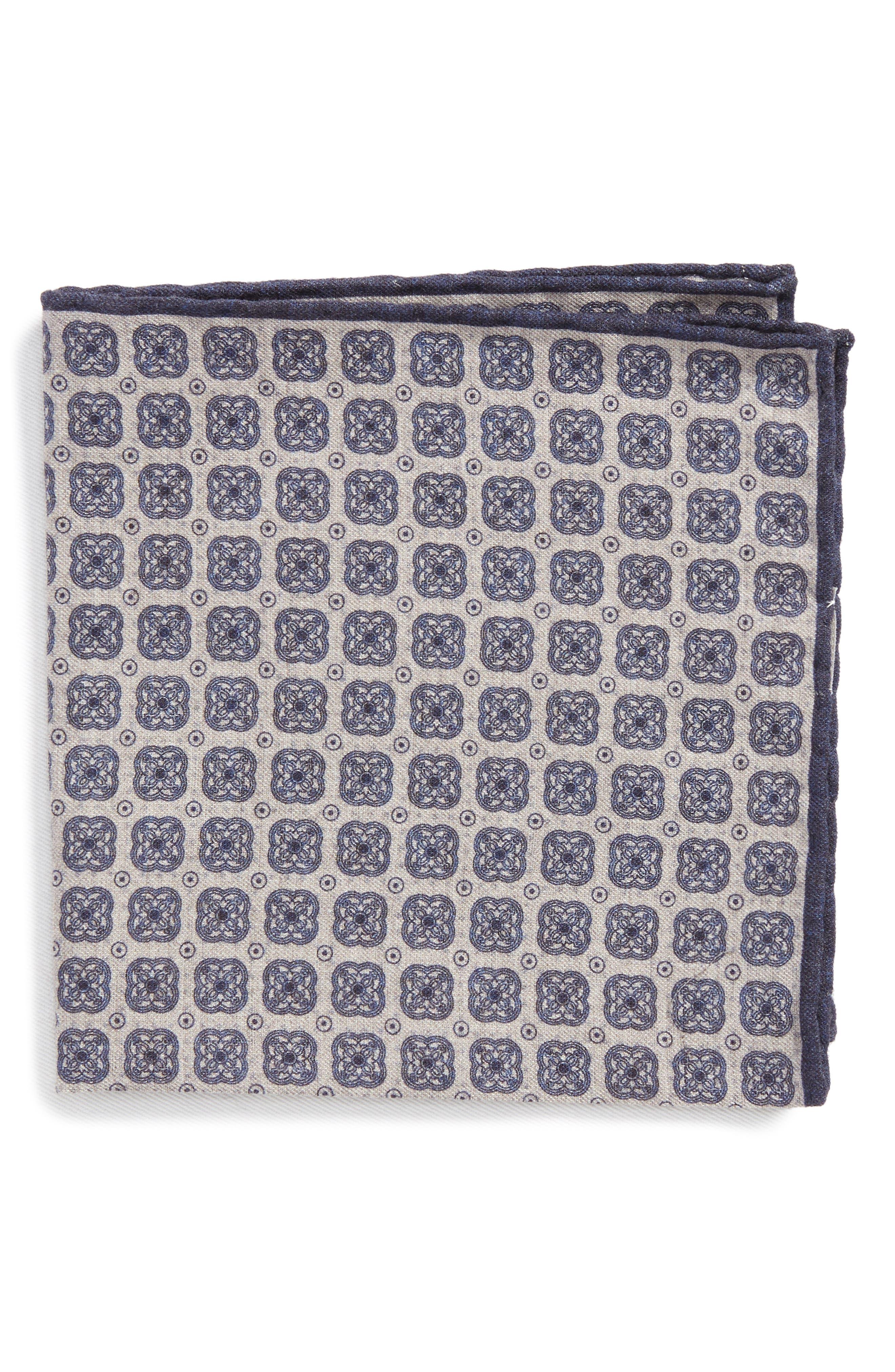 Medallion Wool & Cotton Pocket Square,                         Main,                         color, Grey