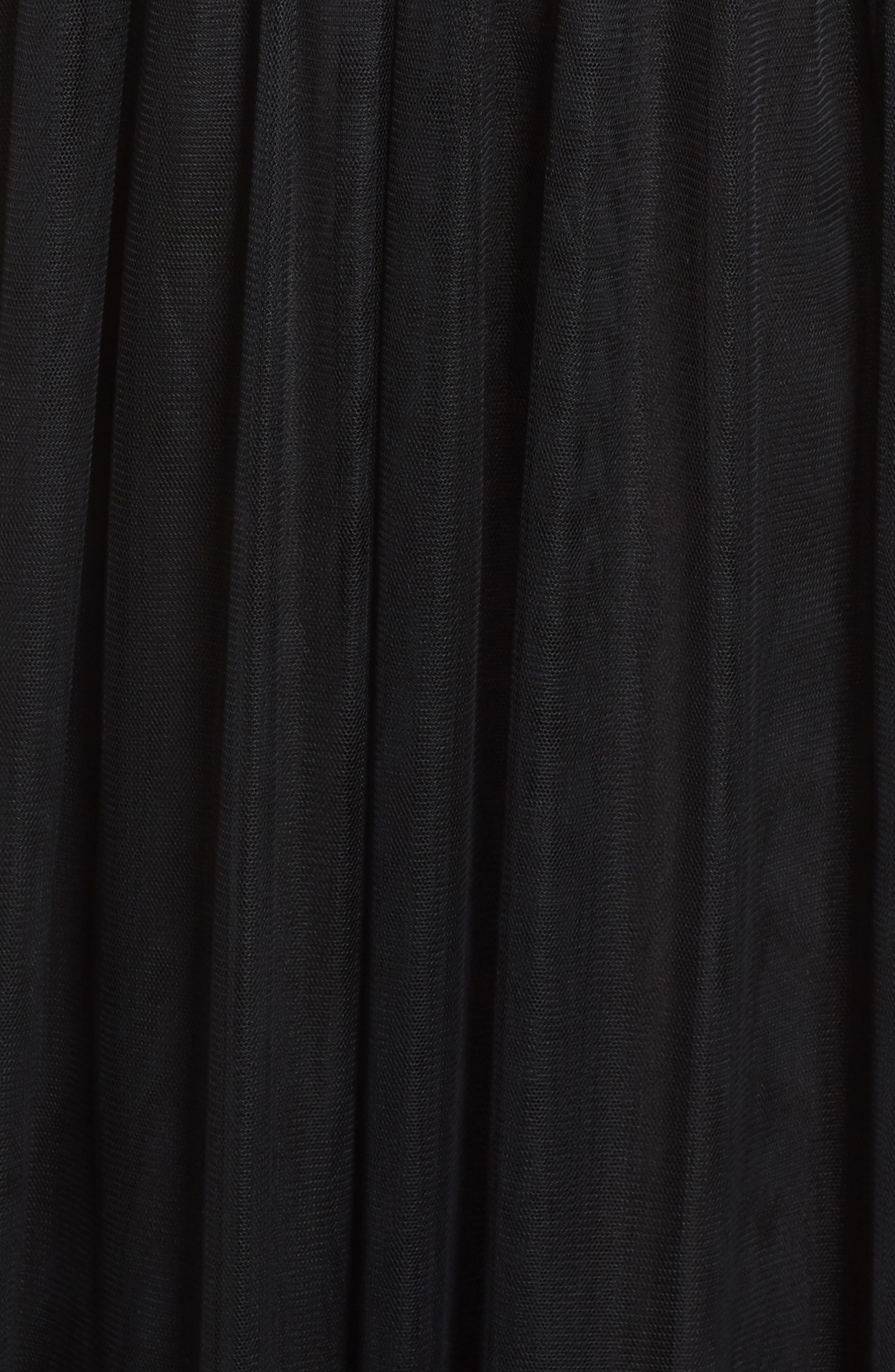 Open Back Lace & Net A-Line Gown,                             Alternate thumbnail 5, color,                             Black