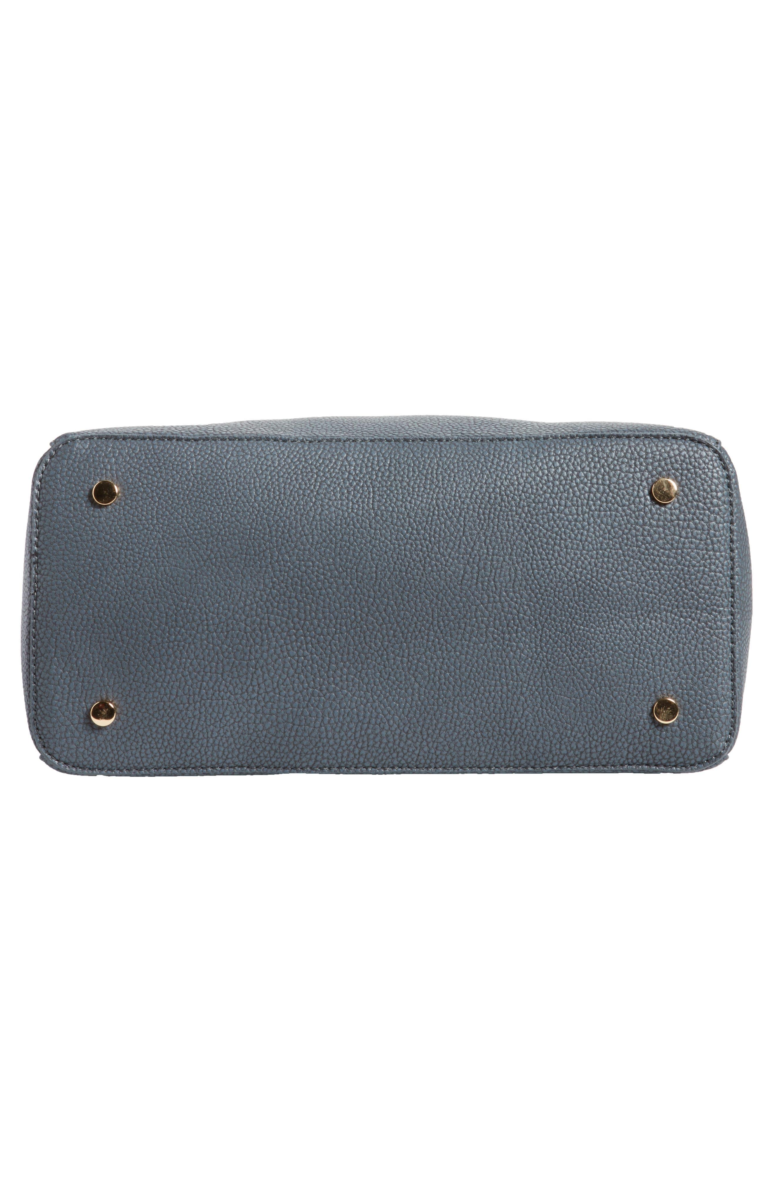 Lexington Faux Leather Satchel,                             Alternate thumbnail 6, color,                             Slate Blue