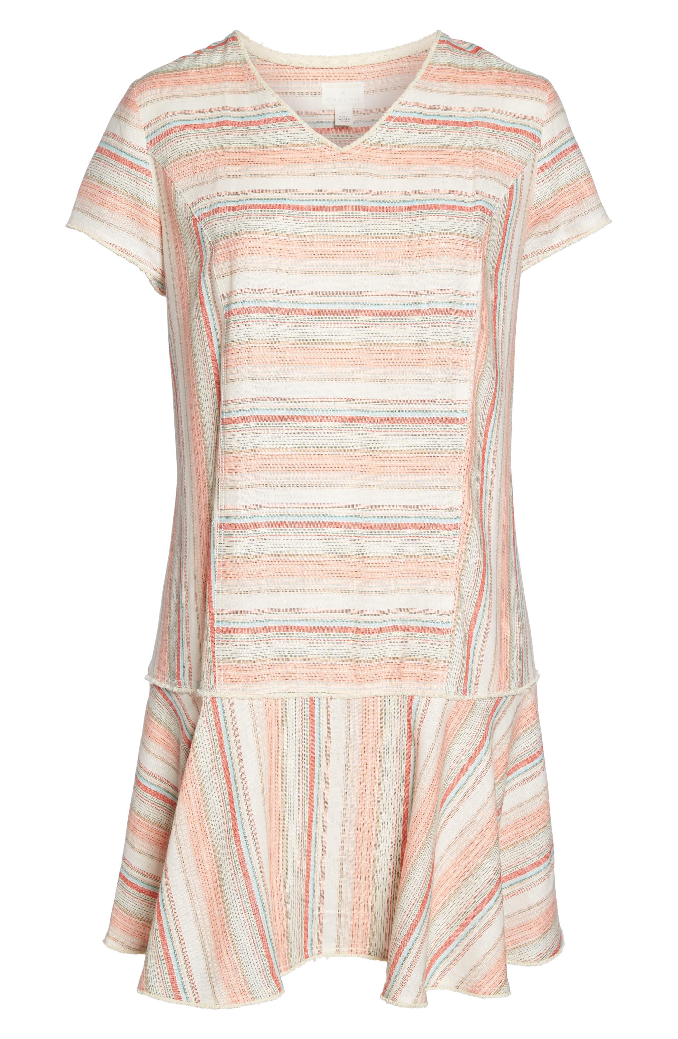 Raw Edge Stripe Linen Blend Dress,                             Alternate thumbnail 6, color,                             Coral Stripe