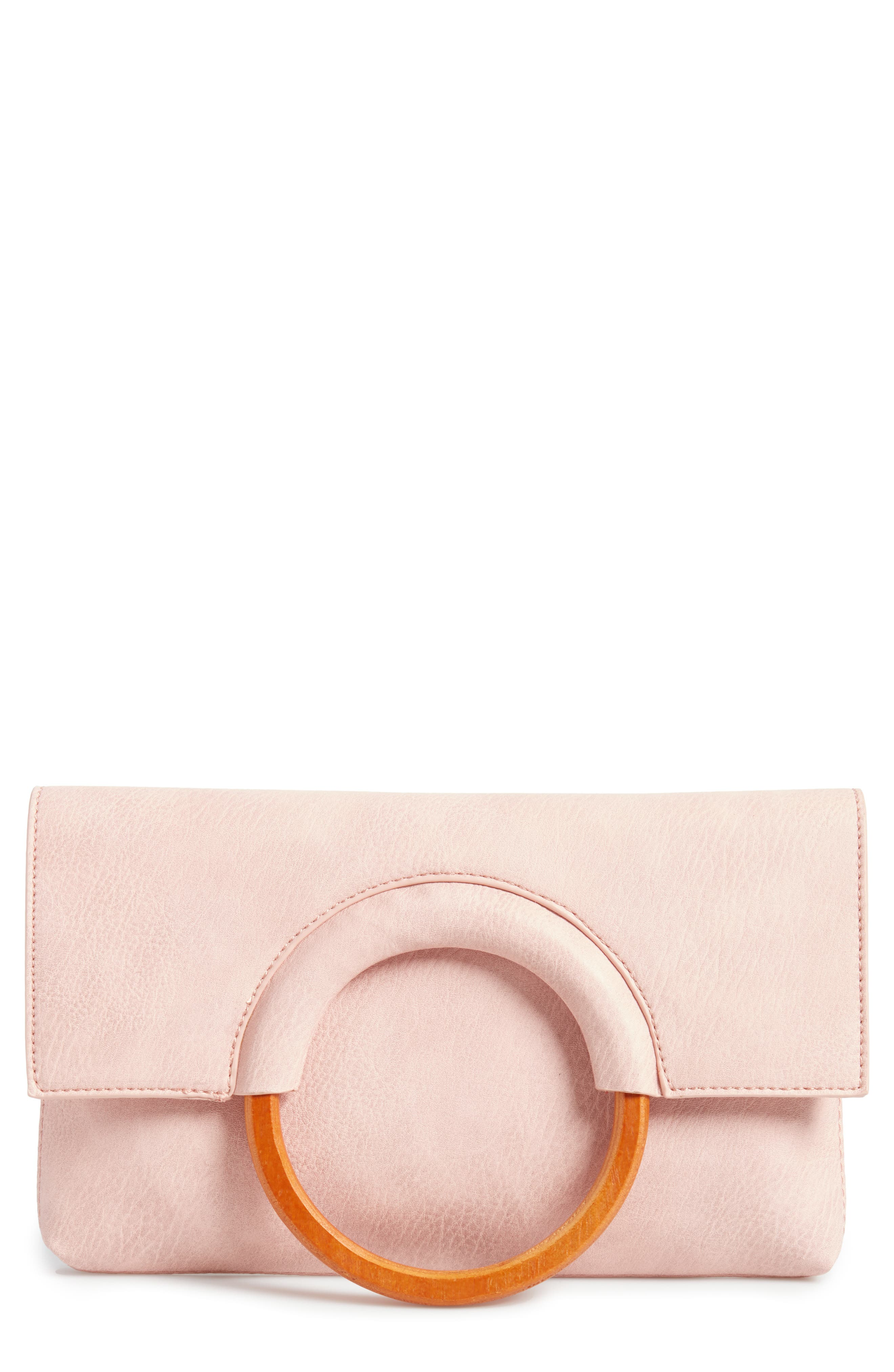 Faux Leather Circle Clutch,                         Main,                         color, Pink