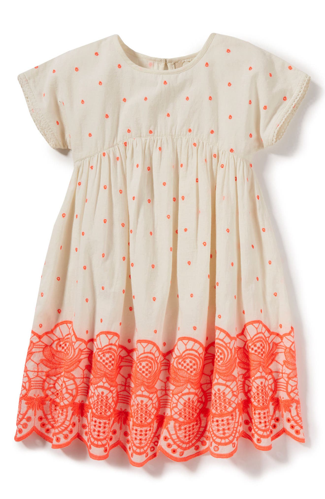 Sun Embroidered Dress,                             Main thumbnail 1, color,                             Neon Coral