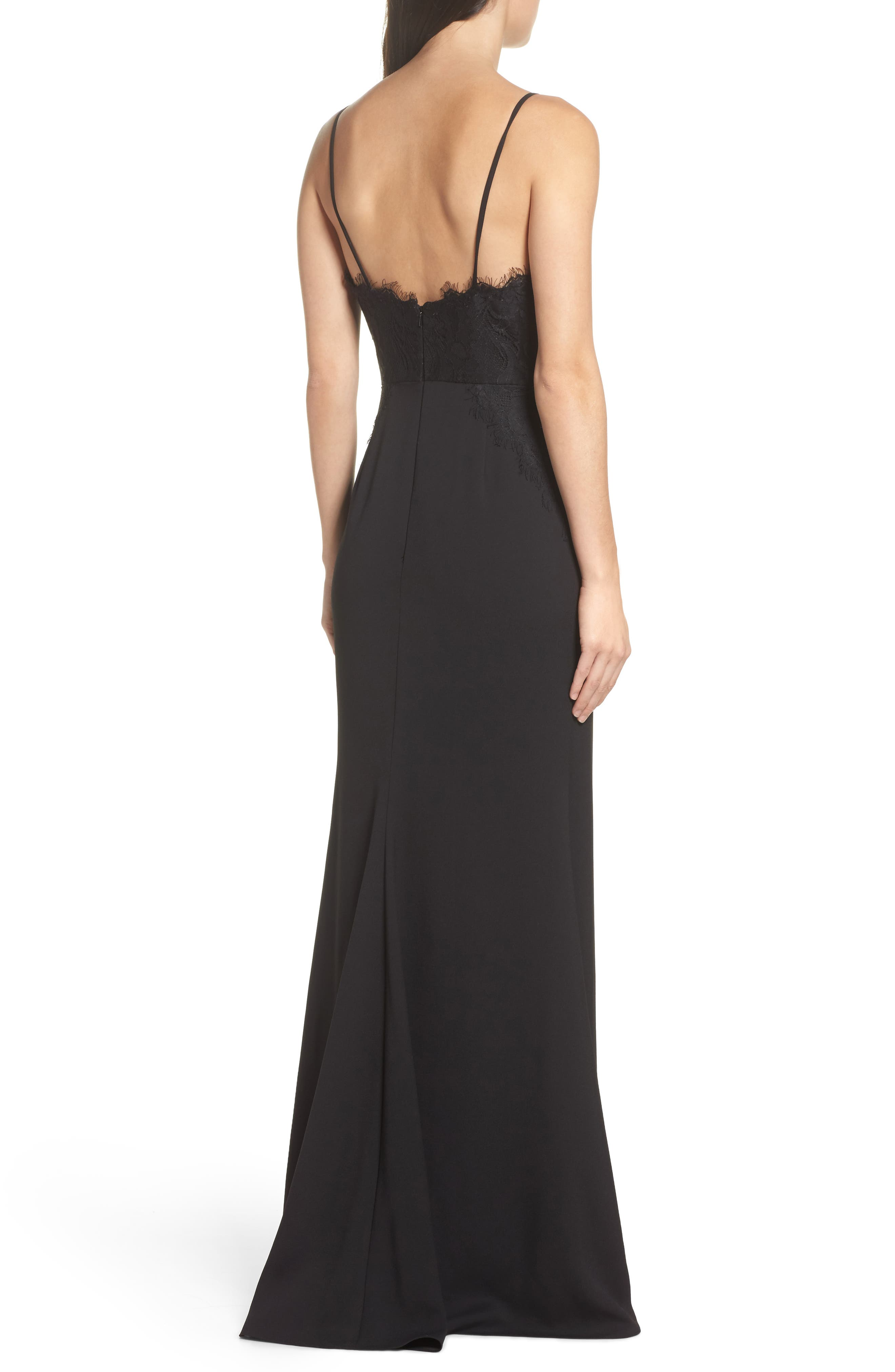 Alternate Image 2  - Hayley Paige Occasions Lace & Crepe Trumpet Gown
