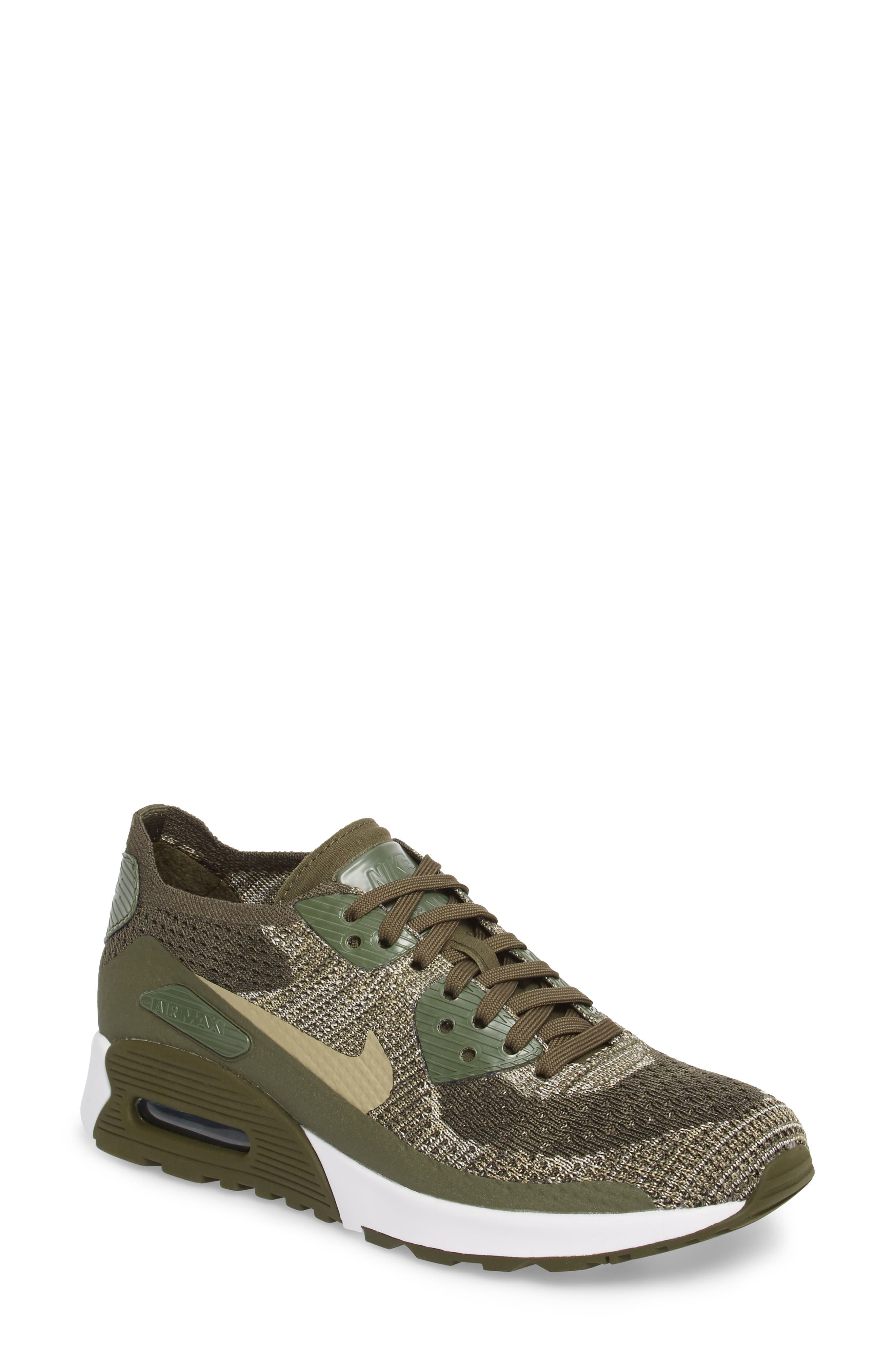 Air Max 90 Flyknit Ultra 2.0 Sneaker,                         Main,                         color, Cargo Khaki/ Neutral Olive