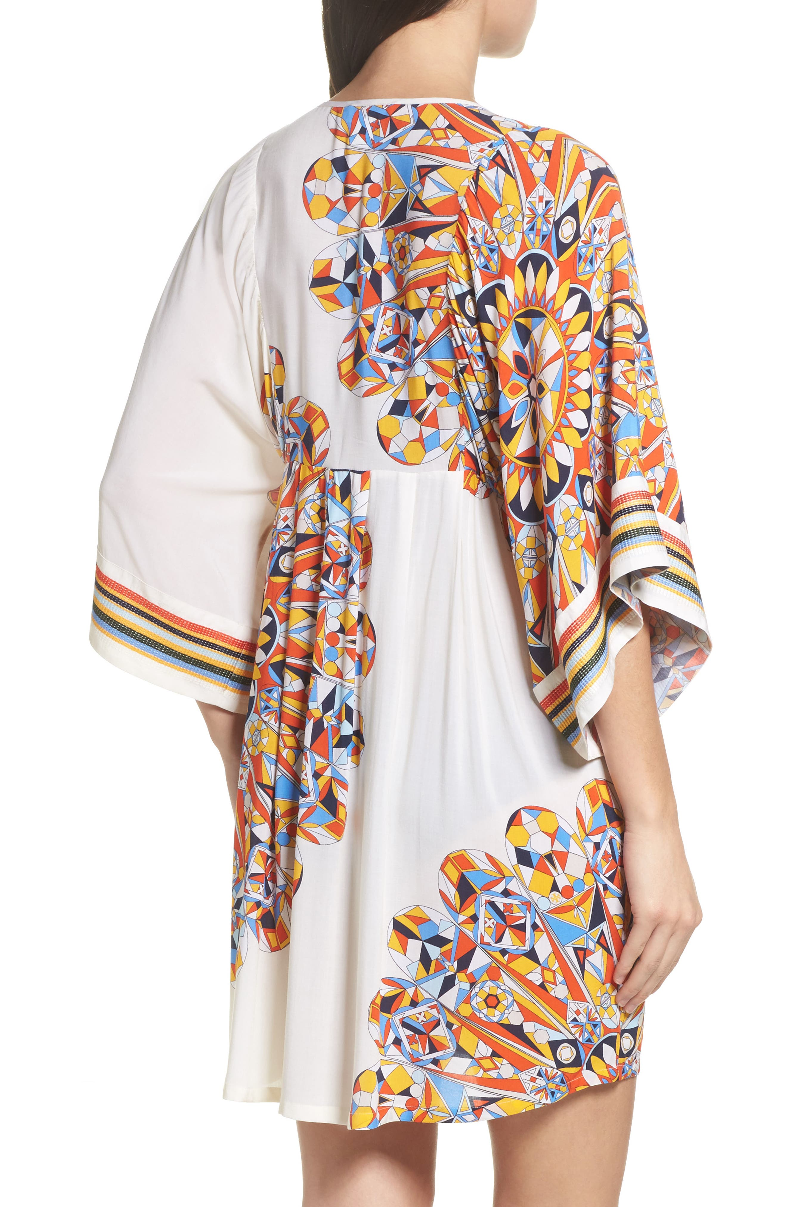 Geometric Tunic Cover-Up,                             Alternate thumbnail 2, color,                             Sweet Tangerine Psychedelic