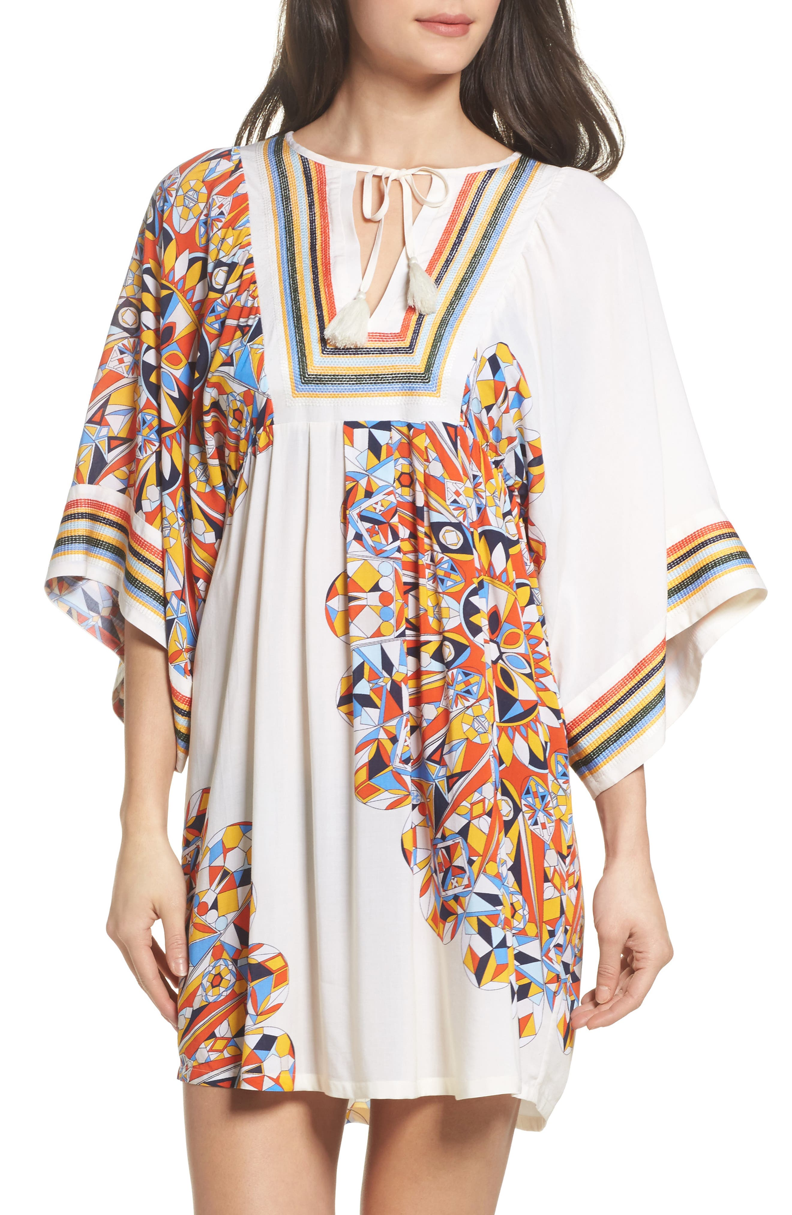 Geometric Tunic Cover-Up,                             Main thumbnail 1, color,                             Sweet Tangerine Psychedelic