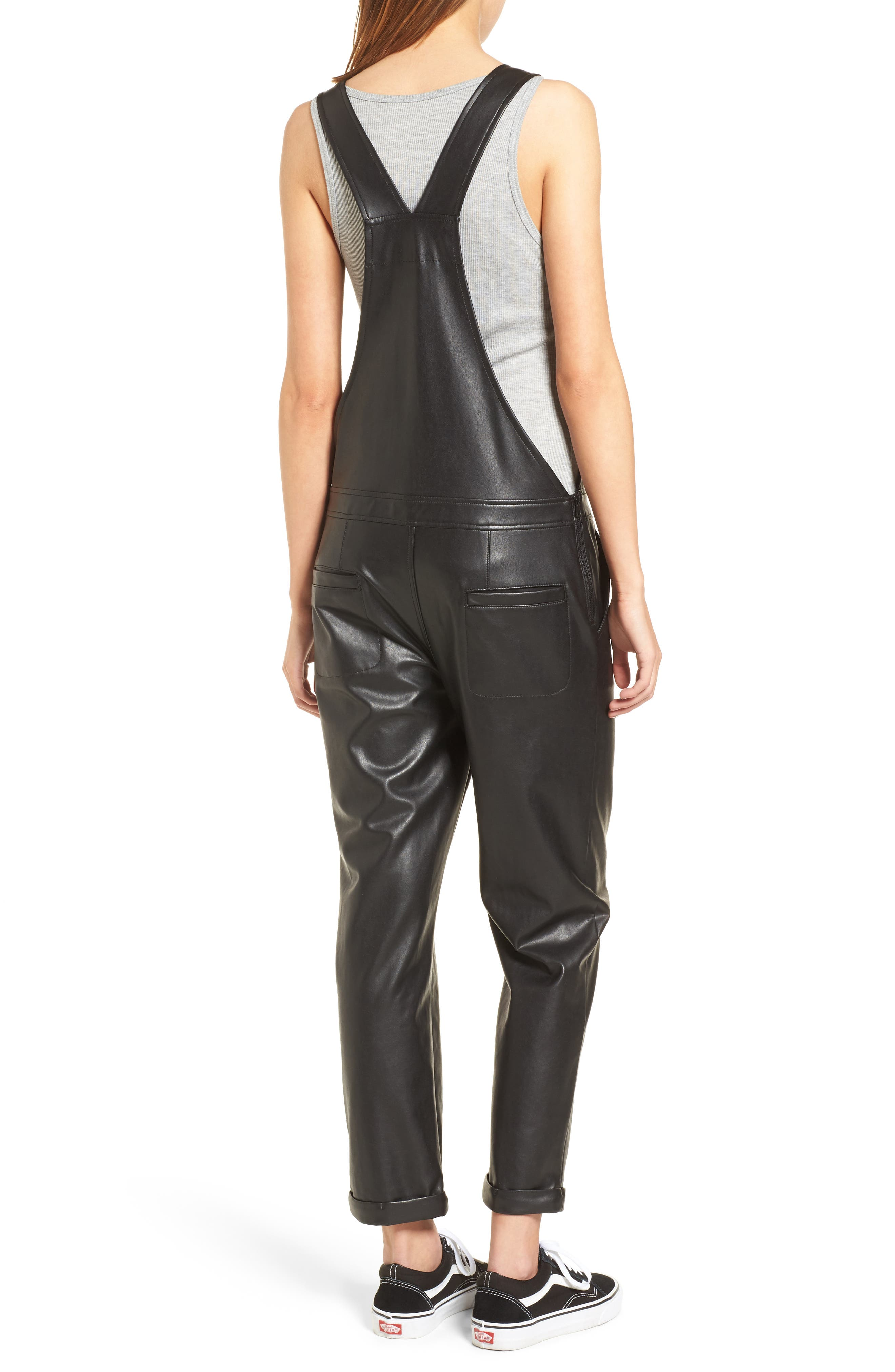 Faux Leather Overalls,                             Alternate thumbnail 2, color,                             Black
