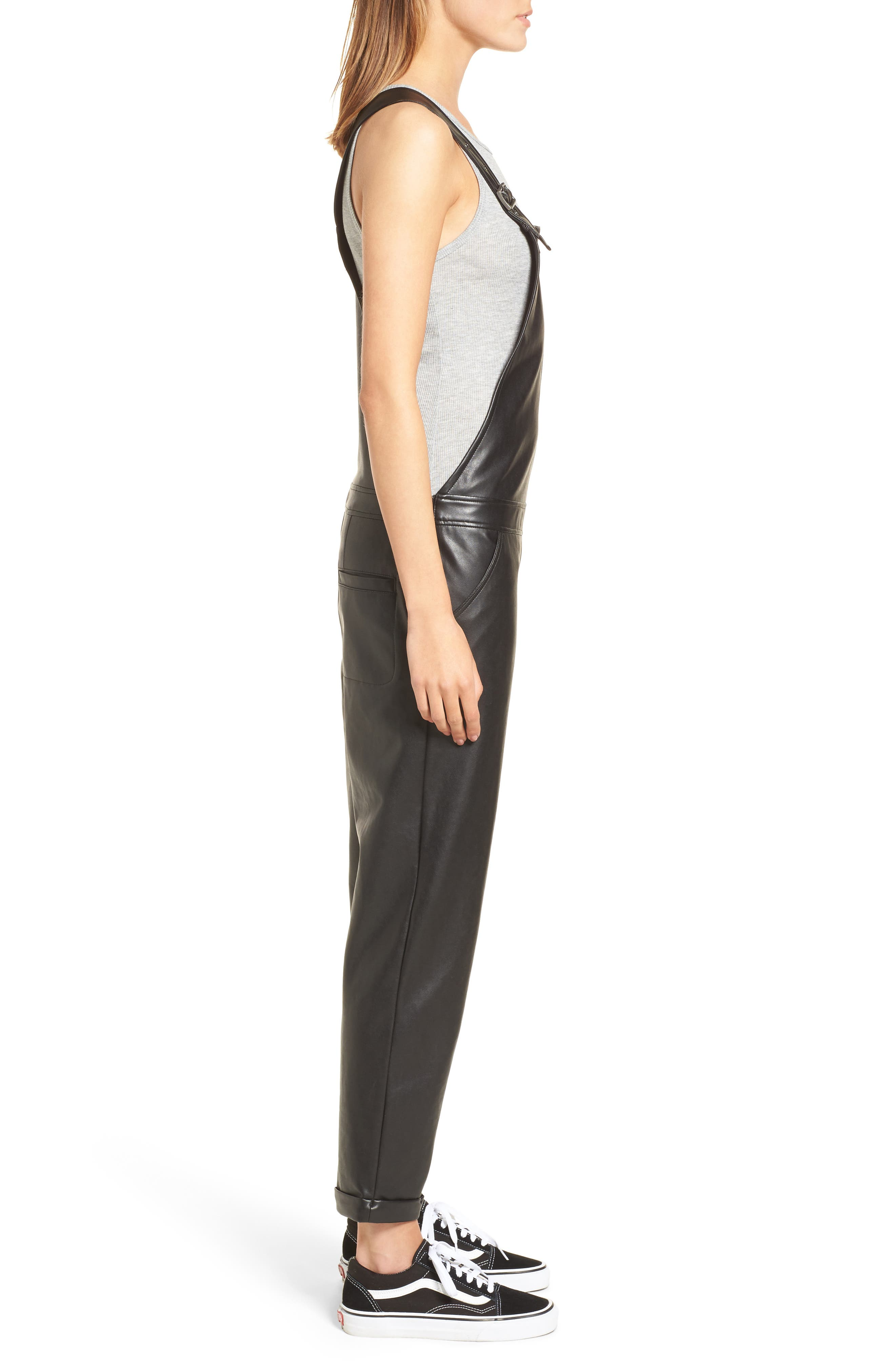 Faux Leather Overalls,                             Alternate thumbnail 3, color,                             Black