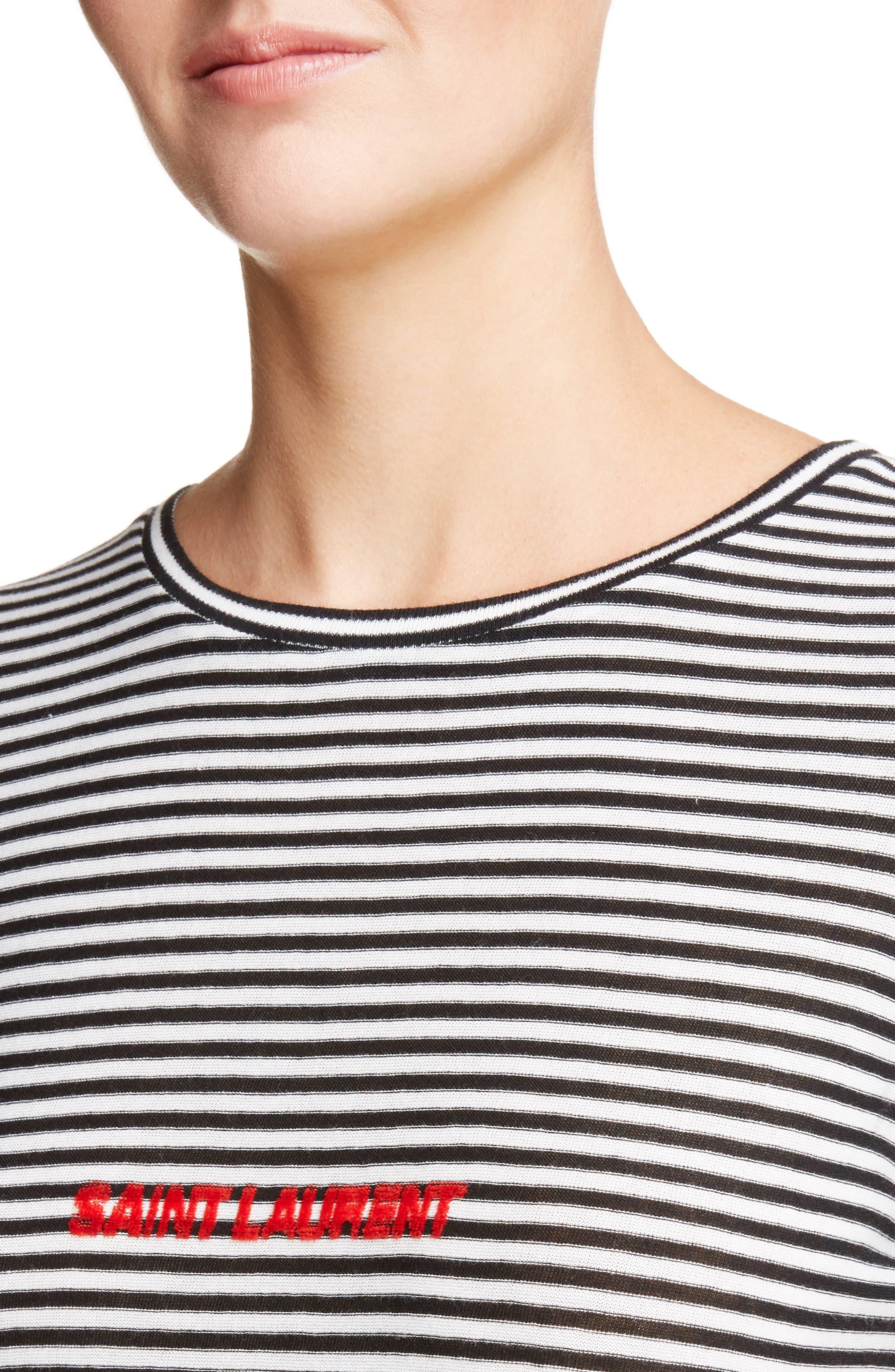 Logo Stripe Tee,                             Alternate thumbnail 4, color,                             Noir/ Naturel/ Rouge