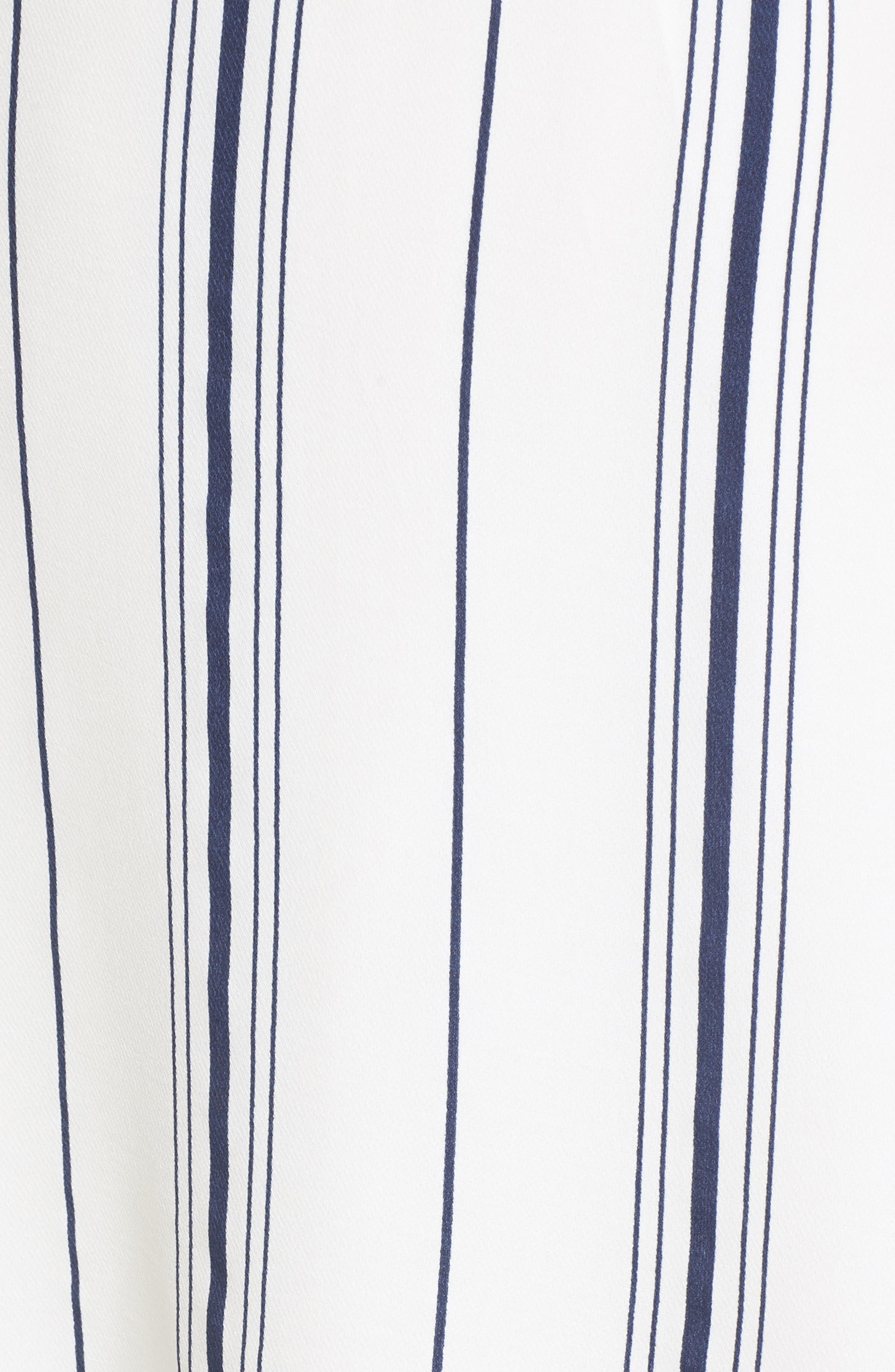Tie Front Minidress,                             Alternate thumbnail 6, color,                             White/ Navy