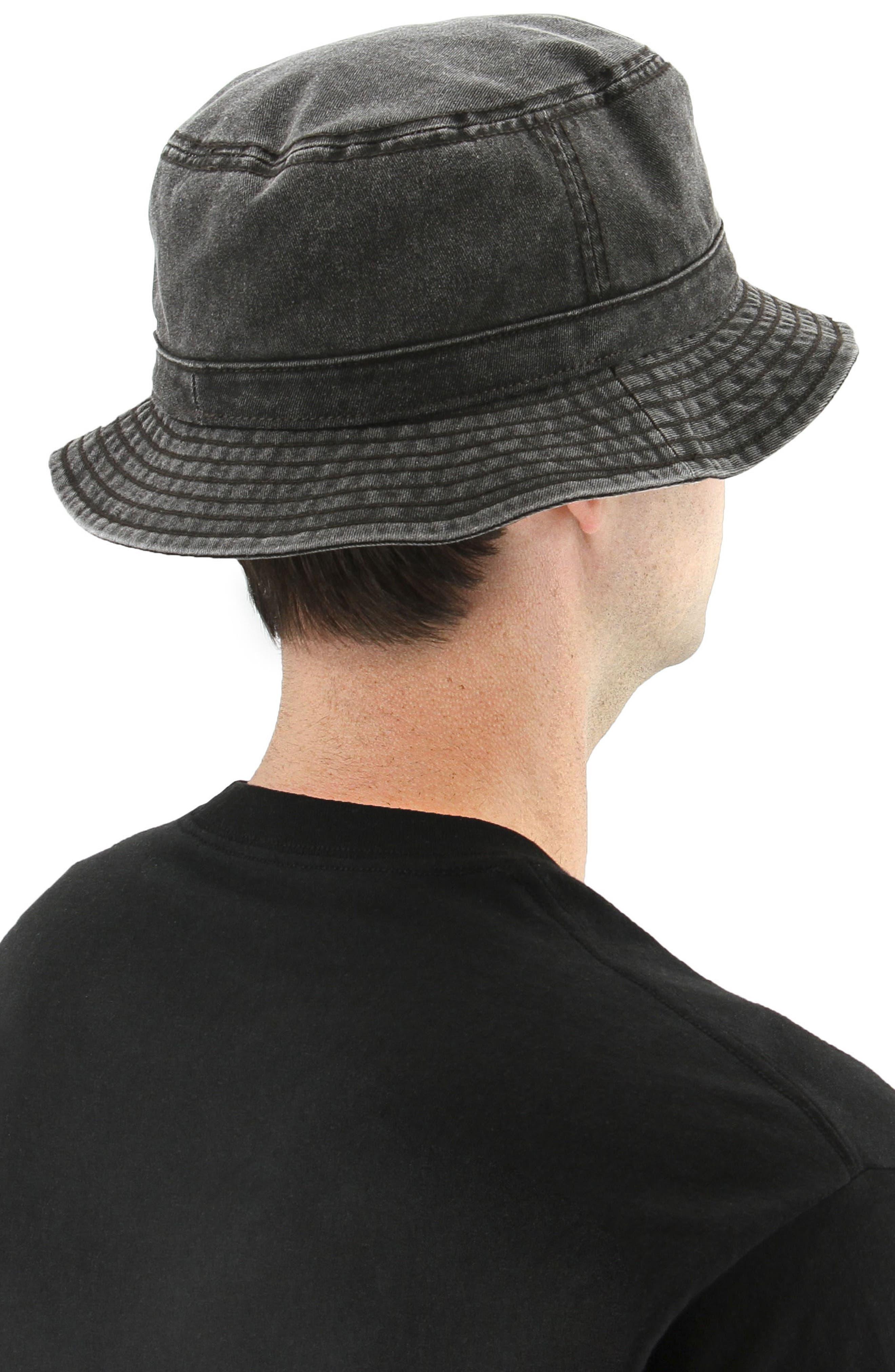 Washed Bucket Hat,                             Alternate thumbnail 3, color,                             Black/ Black