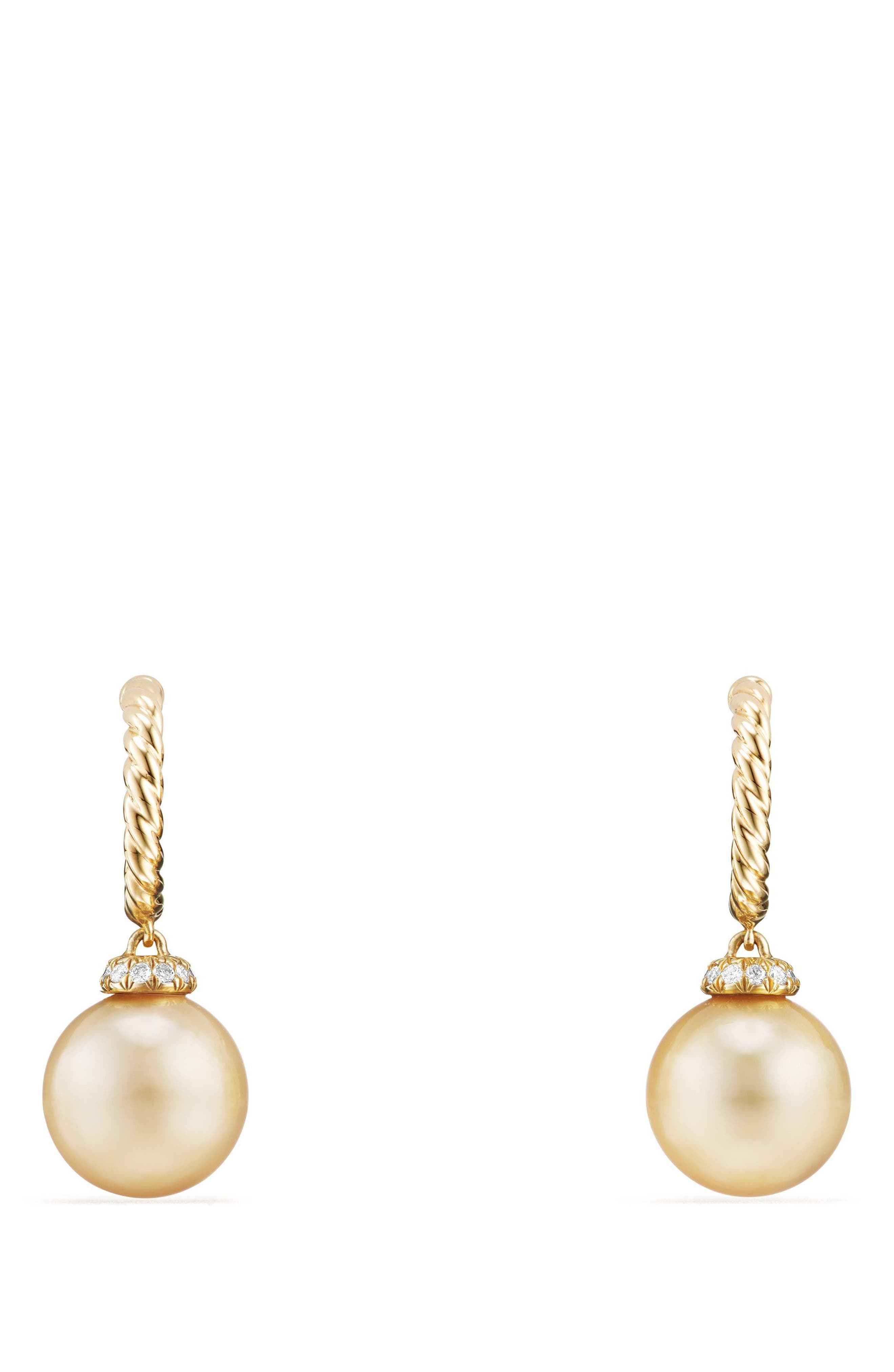 Solari Hoop Earrings with Diamonds and Genuine Pearl,                             Main thumbnail 1, color,                             Gold/ Diamond/ Yellow Pearl