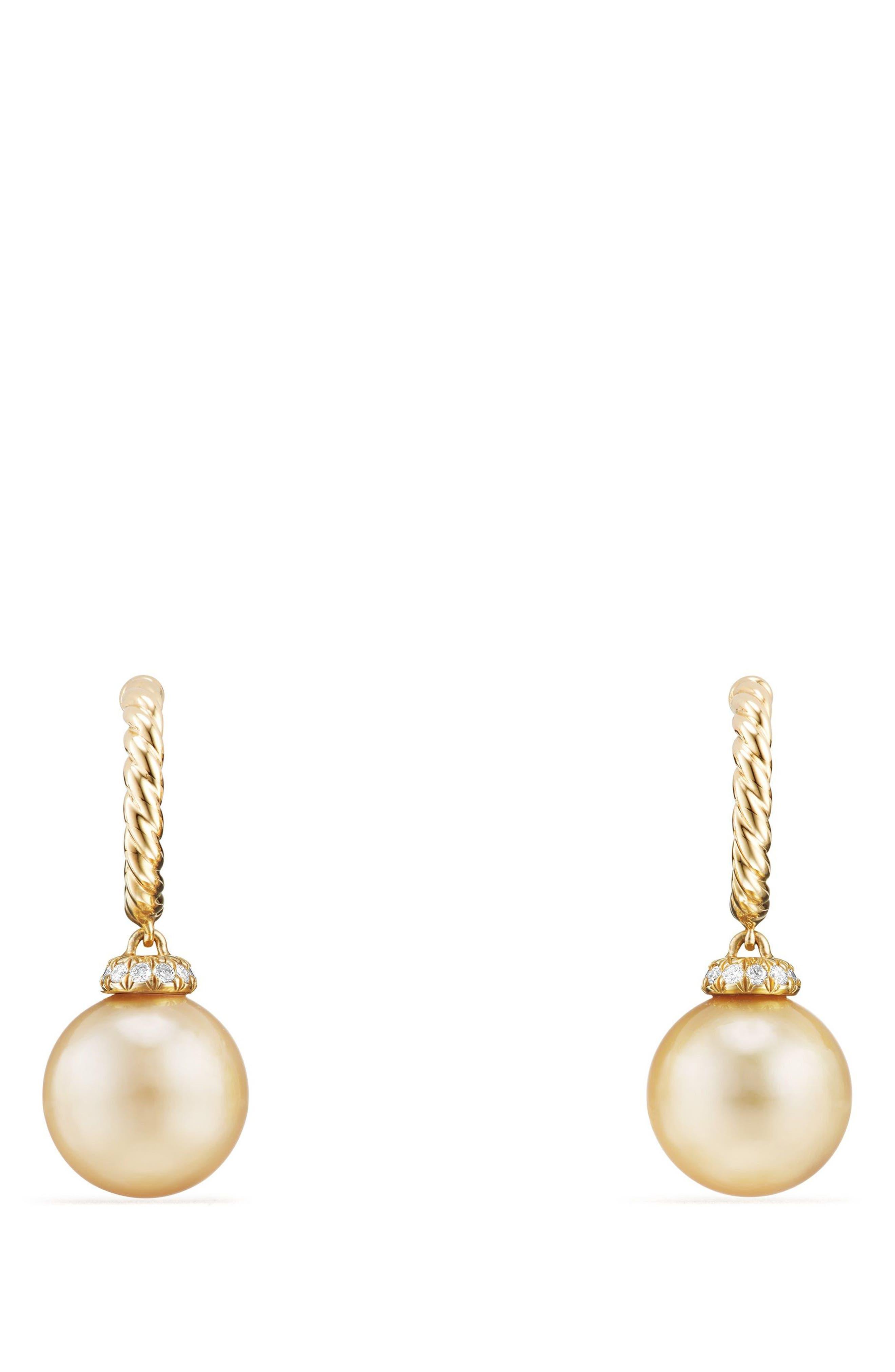 Solari Hoop Earrings with Diamonds and Genuine Pearl,                         Main,                         color, Gold/ Diamond/ Yellow Pearl