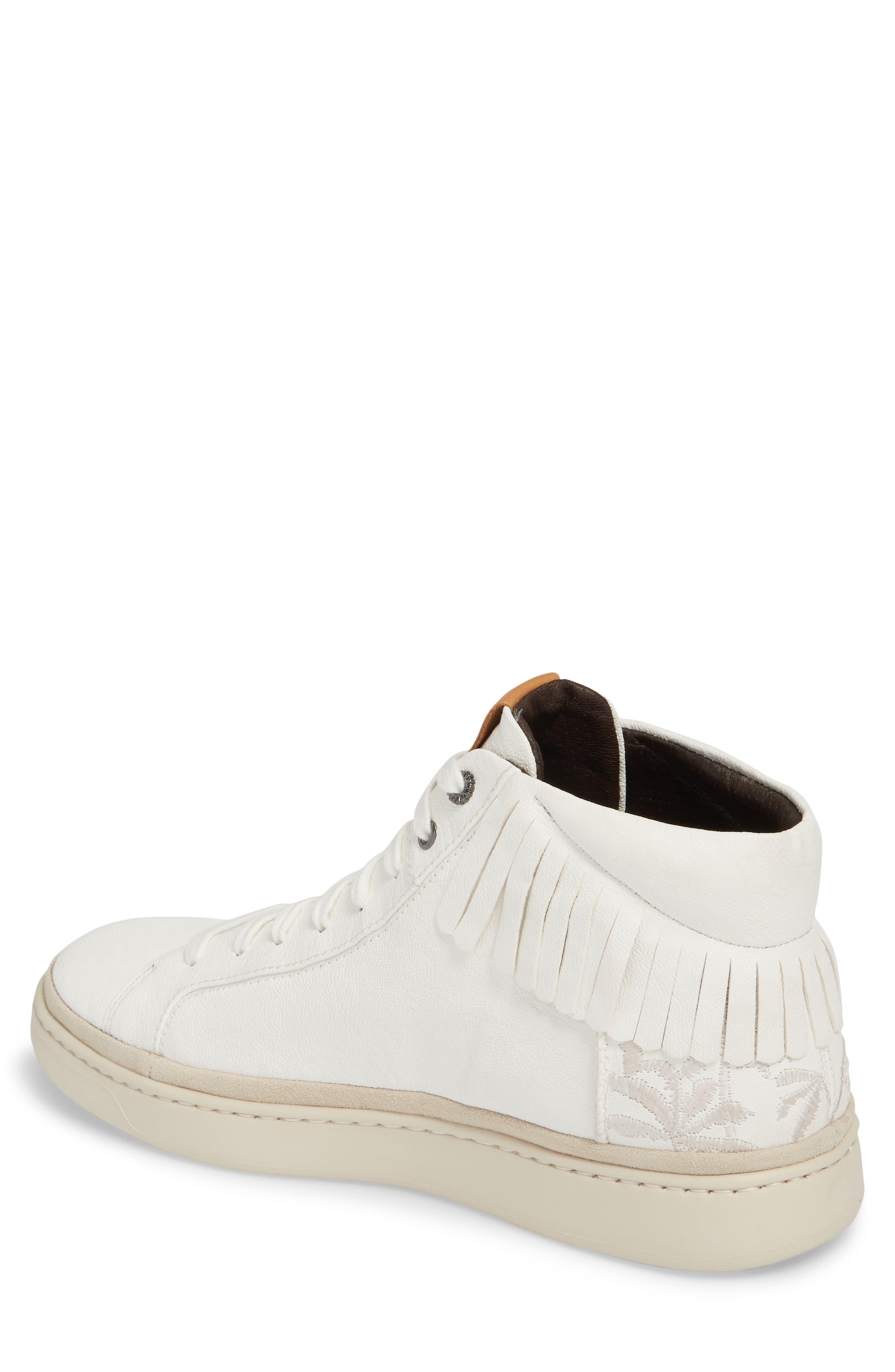 Cali Fringe High Top Sneaker,                             Alternate thumbnail 2, color,                             White Leather