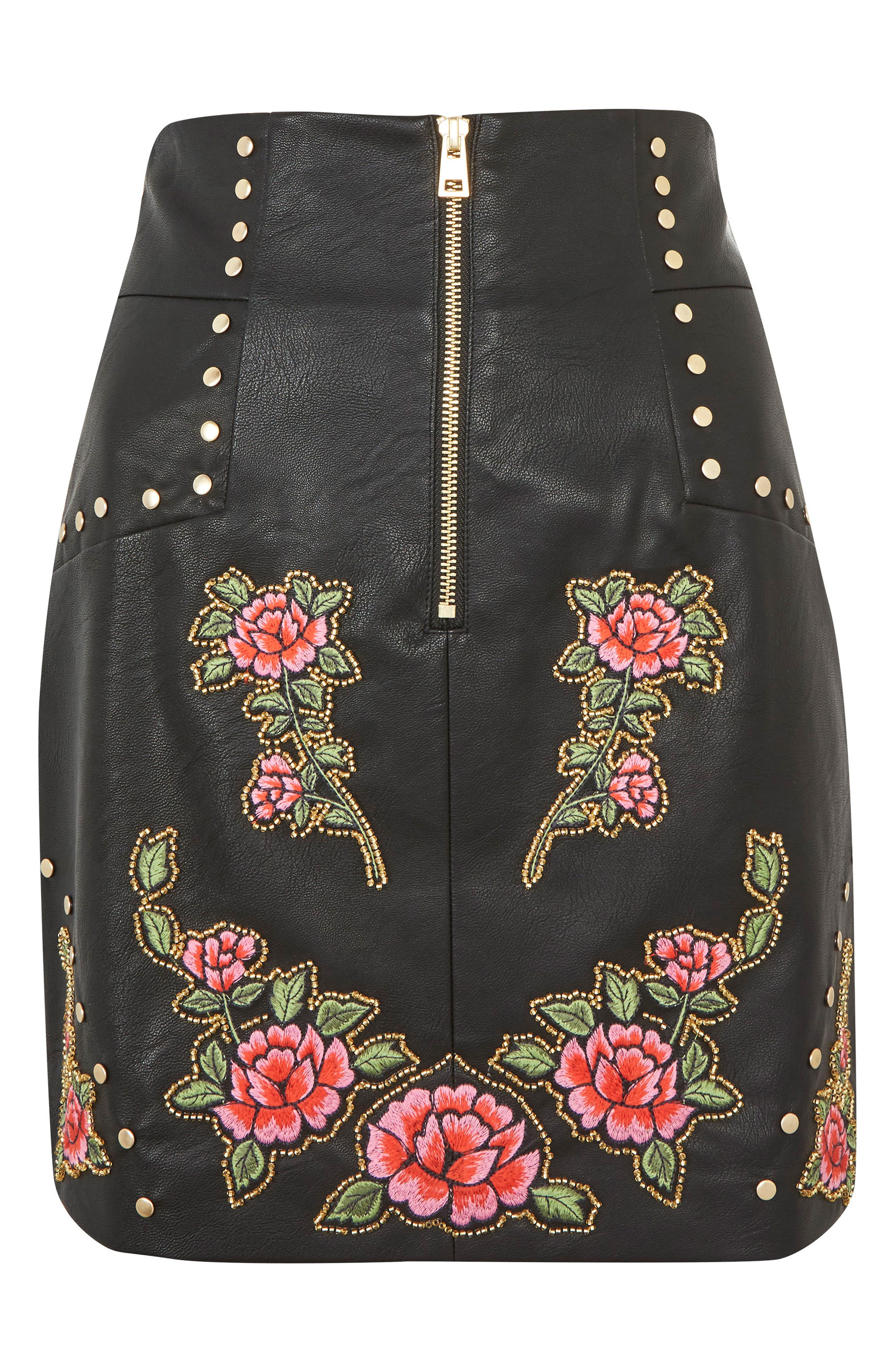 Embellished Floral Faux Leather Skirt,                             Alternate thumbnail 3, color,                             Black Multi