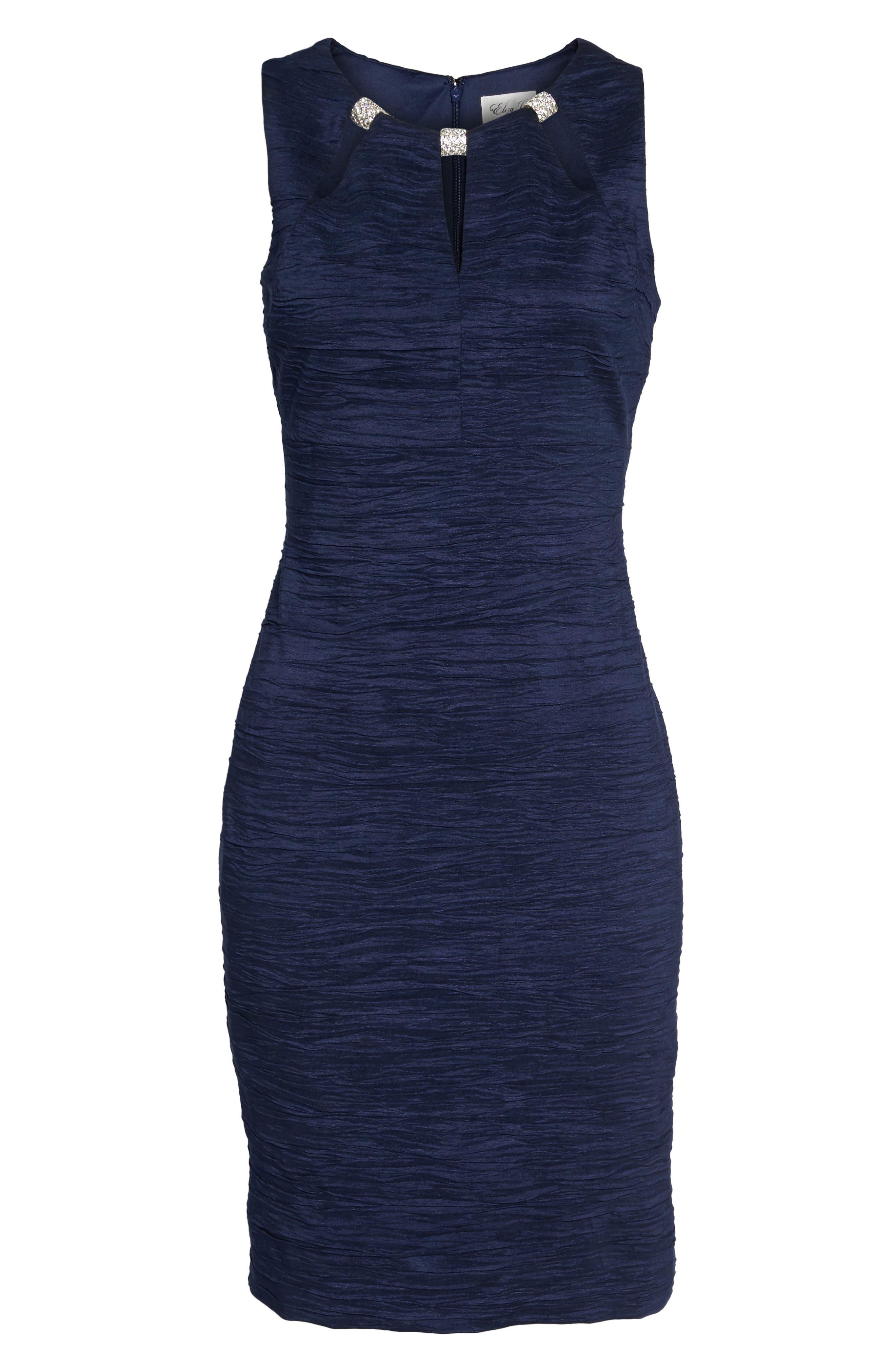 Embellished Cutout Taffeta Sheath Dress,                             Alternate thumbnail 6, color,                             Navy
