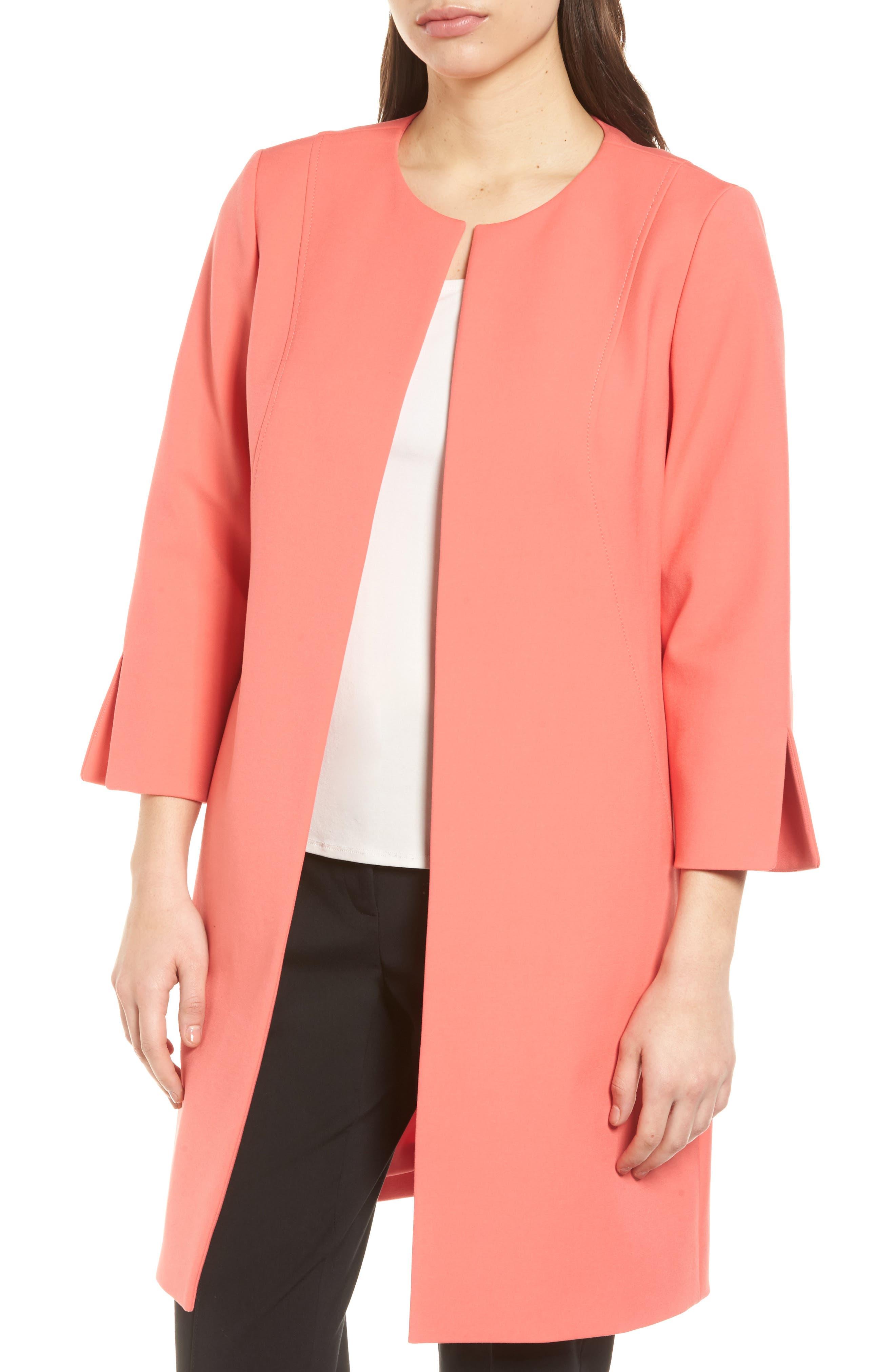 Long Jacket,                             Main thumbnail 1, color,                             Coral Glow
