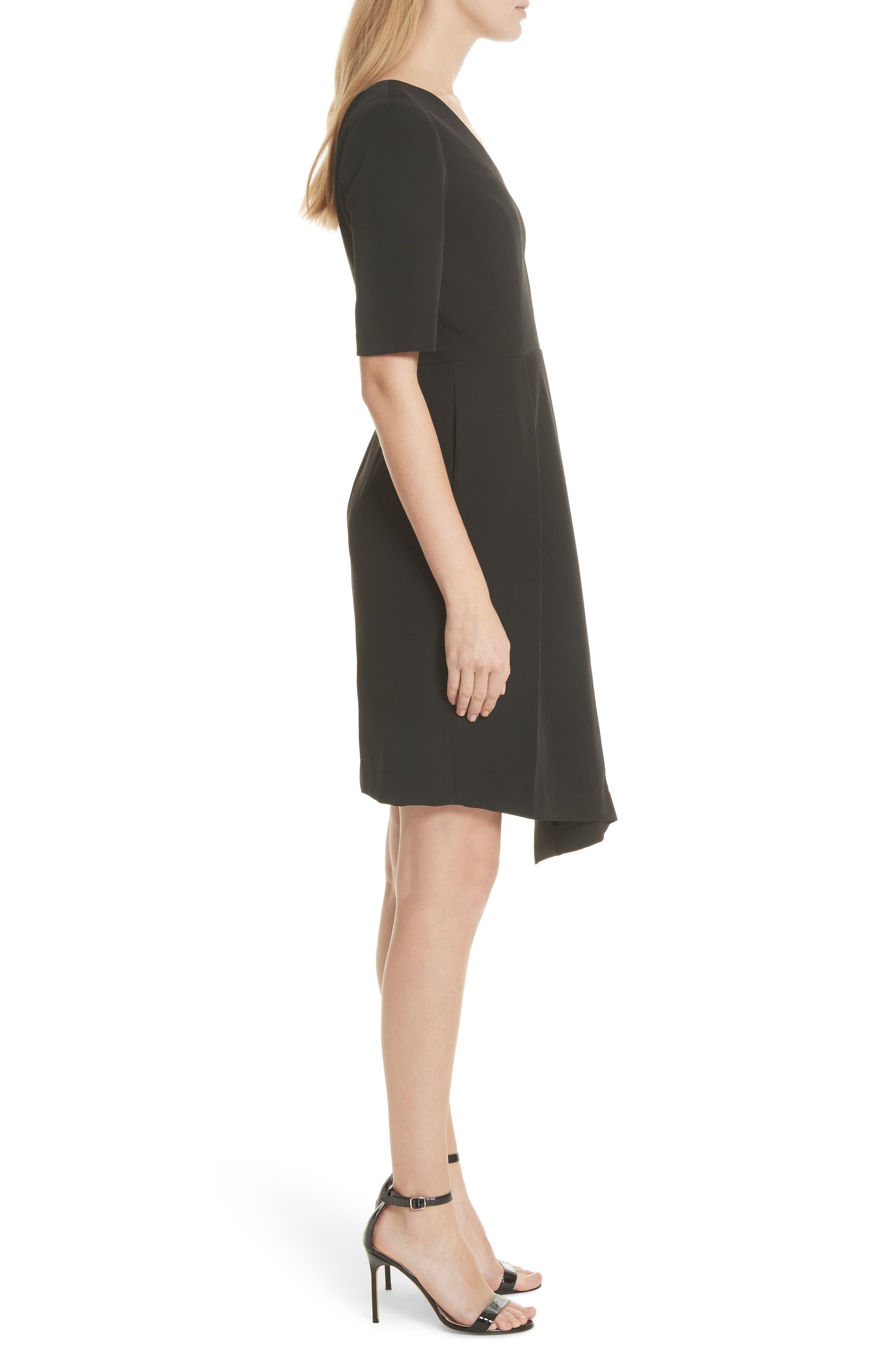 Asymmetrical Sheath Dress,                             Alternate thumbnail 3, color,                             Black