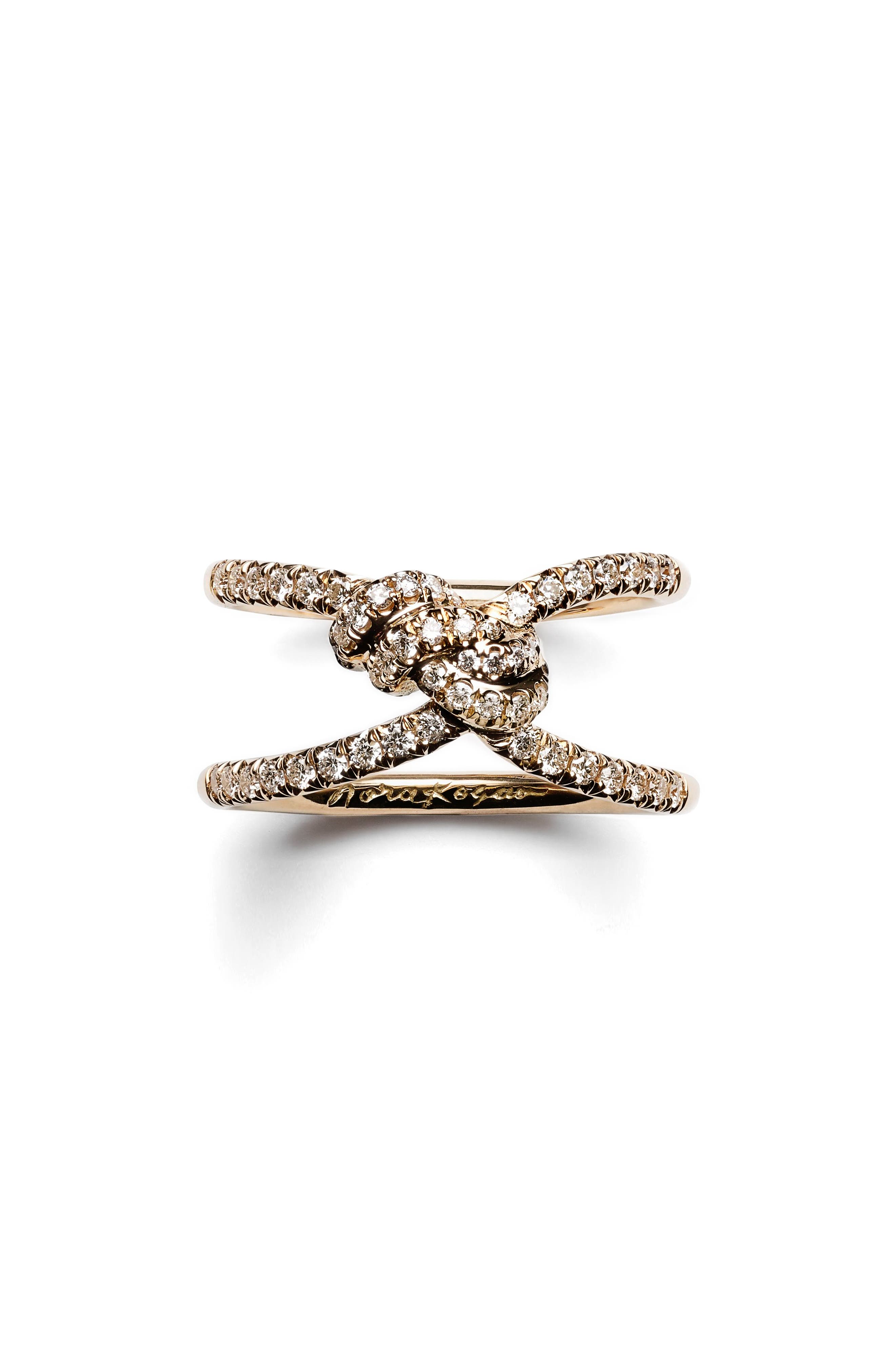 Diamond Yuki Shibari Knot Ring,                         Main,                         color, Yellow Gold