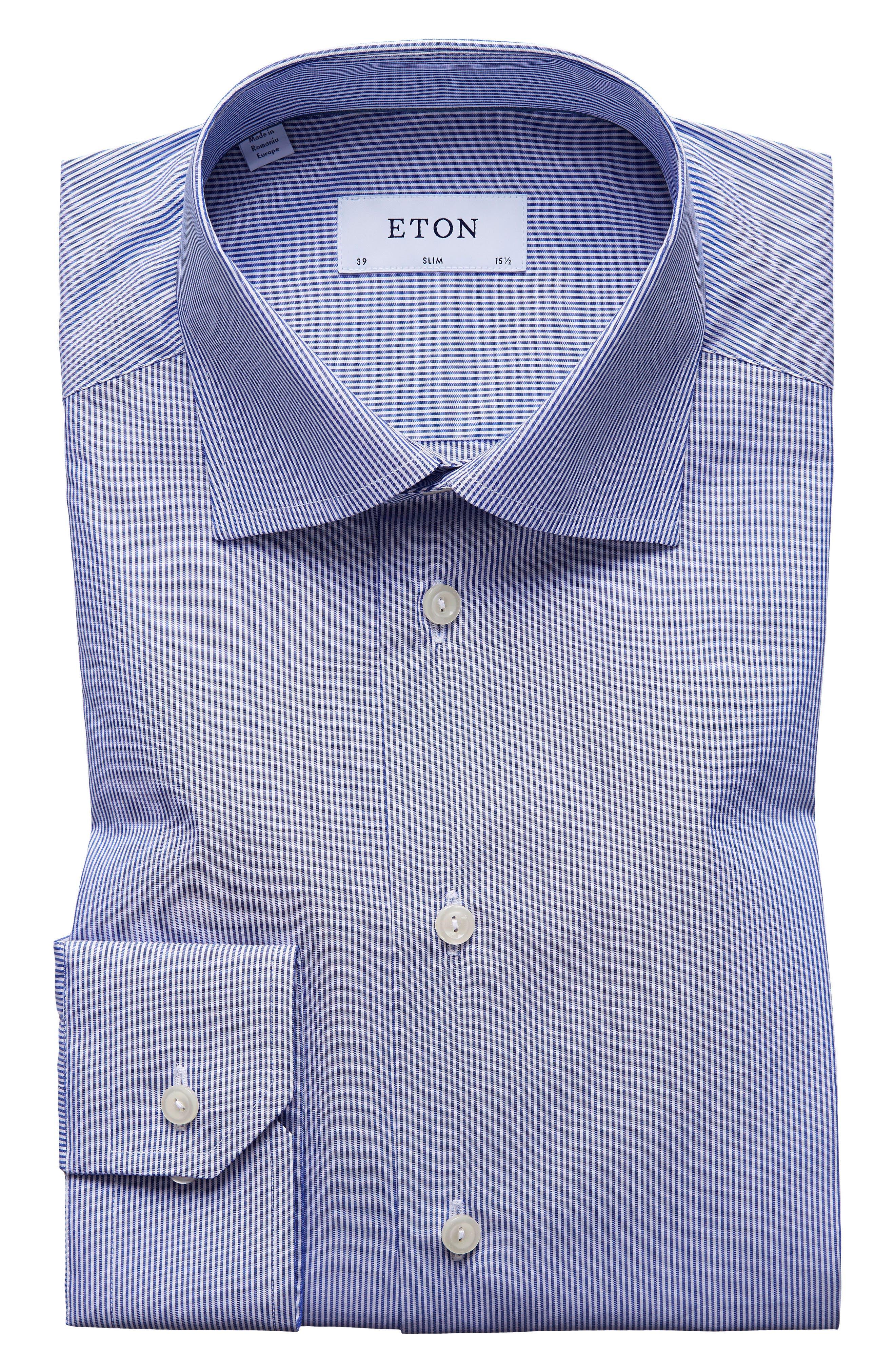 Extra Slim Fit Stripe Dress Shirt,                             Main thumbnail 1, color,                             Blue/ White