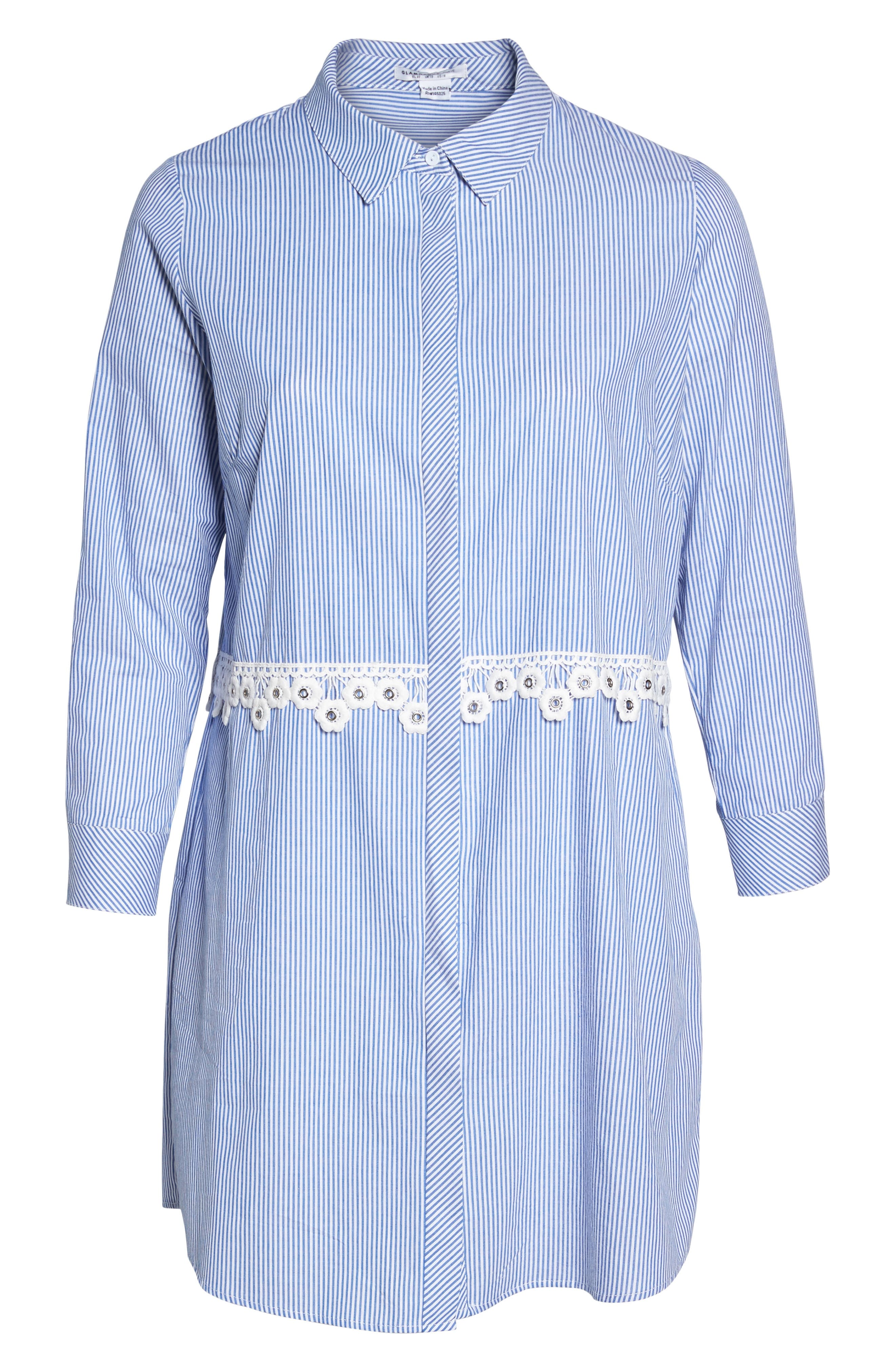 Flower Waist Stripe Shirtdress,                             Alternate thumbnail 6, color,                             Blue White Stripe