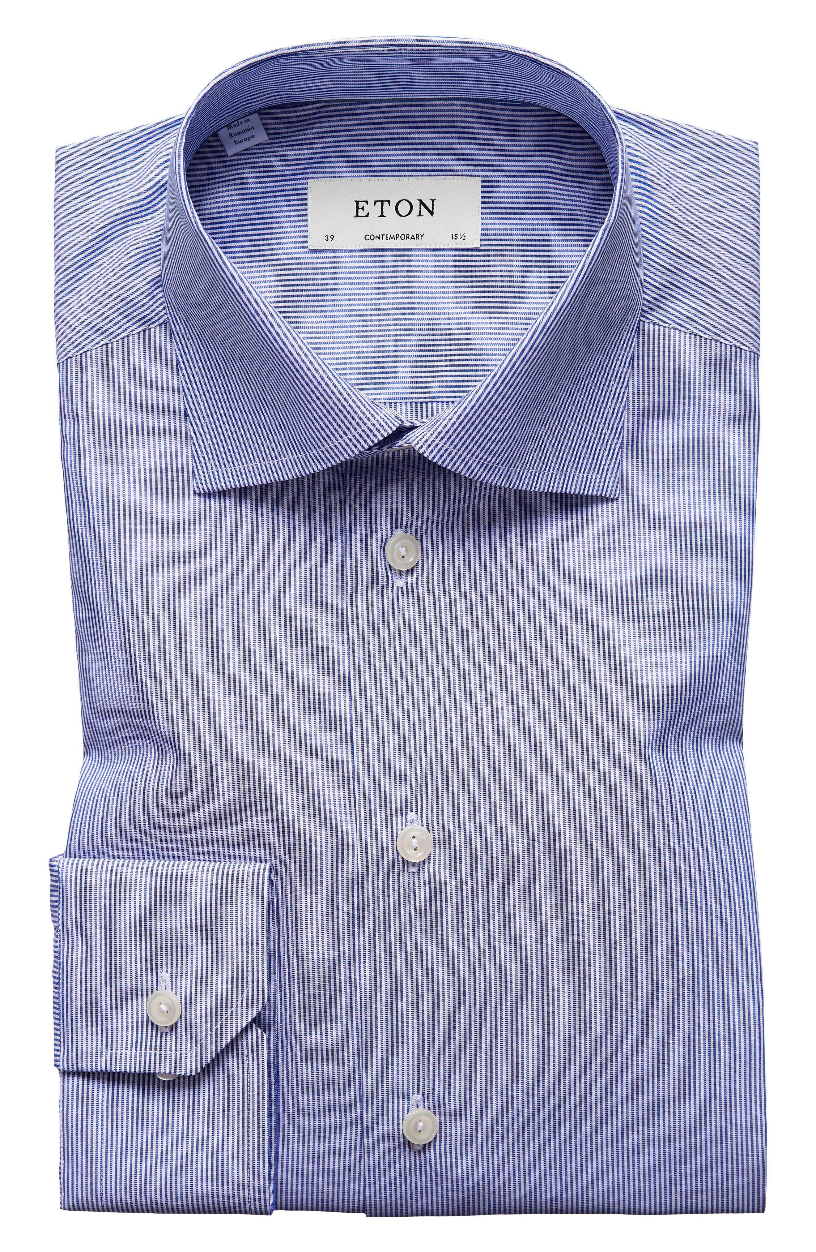 Contemporary Fit Stripe Dress Shirt,                             Main thumbnail 1, color,                             Mid Blue
