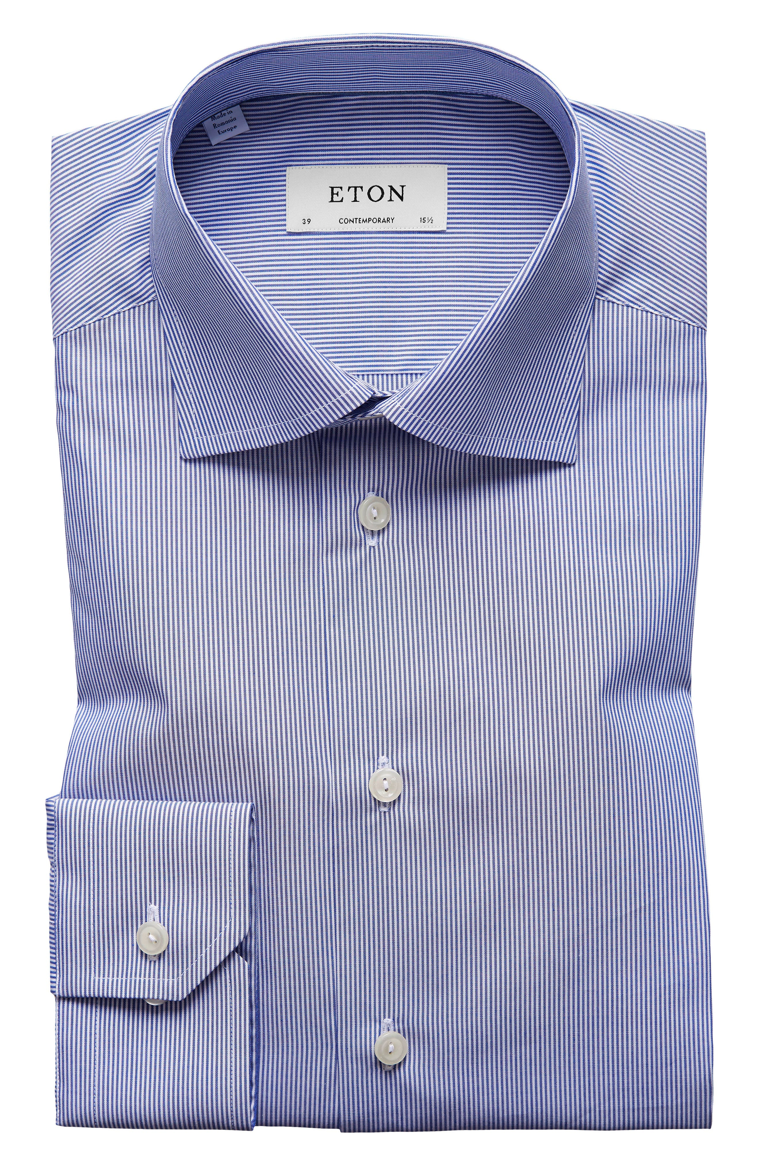 Contemporary Fit Stripe Dress Shirt,                         Main,                         color, Mid Blue
