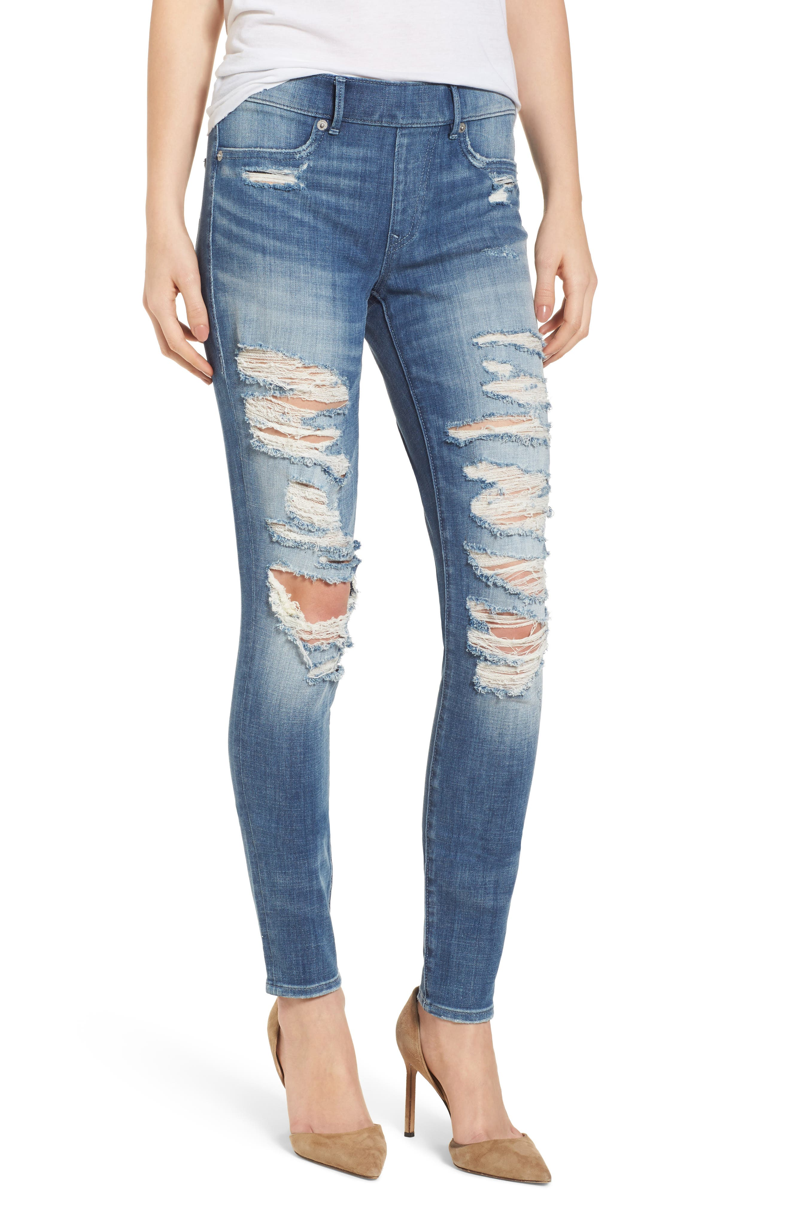 True Religion Brand Jeans Jennie Runaway Legging Jeans (Washed Out Destroy)