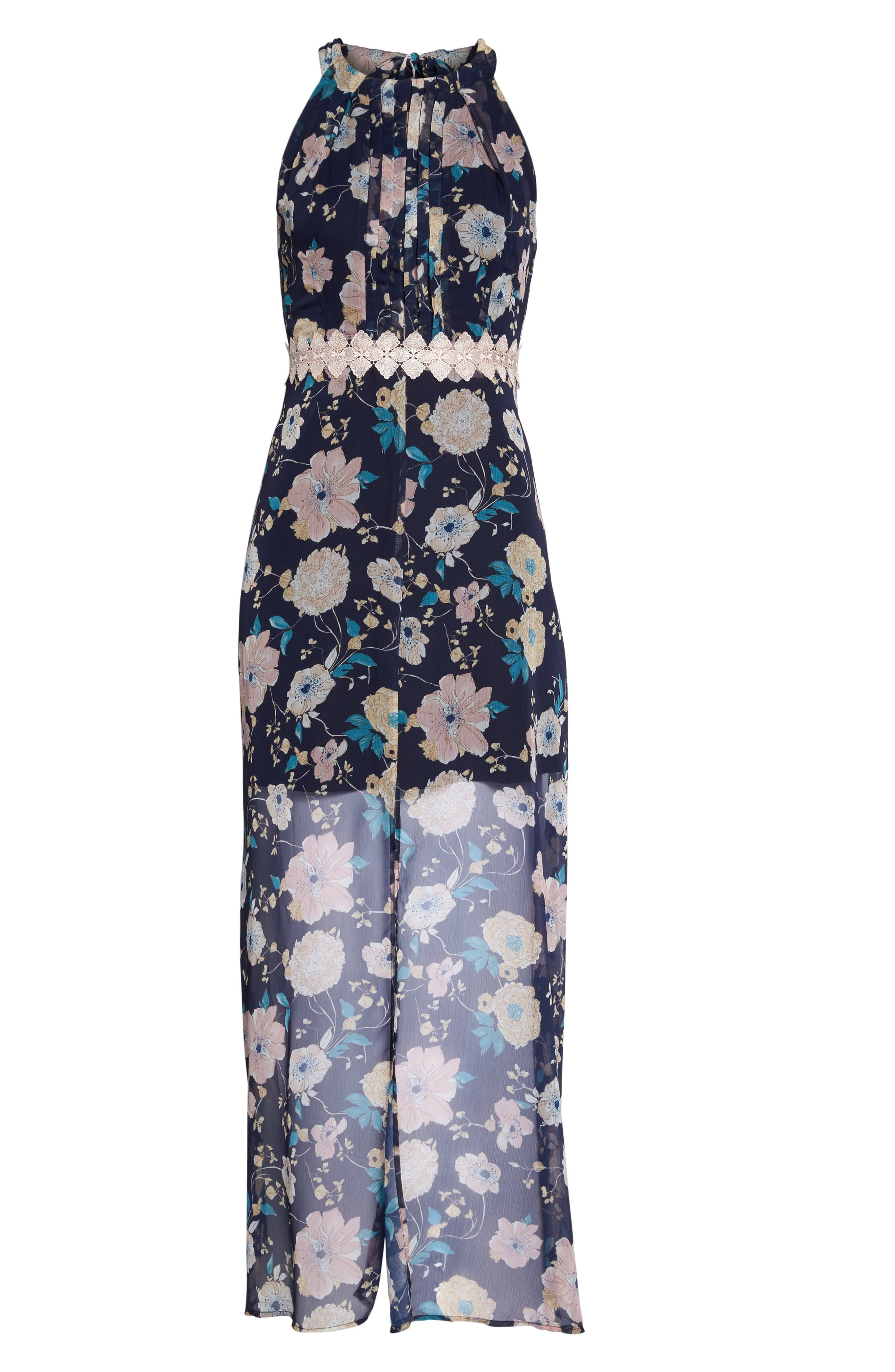 Brylee Floral Print Maxi Dress,                             Alternate thumbnail 6, color,                             Brylee Navy Multi