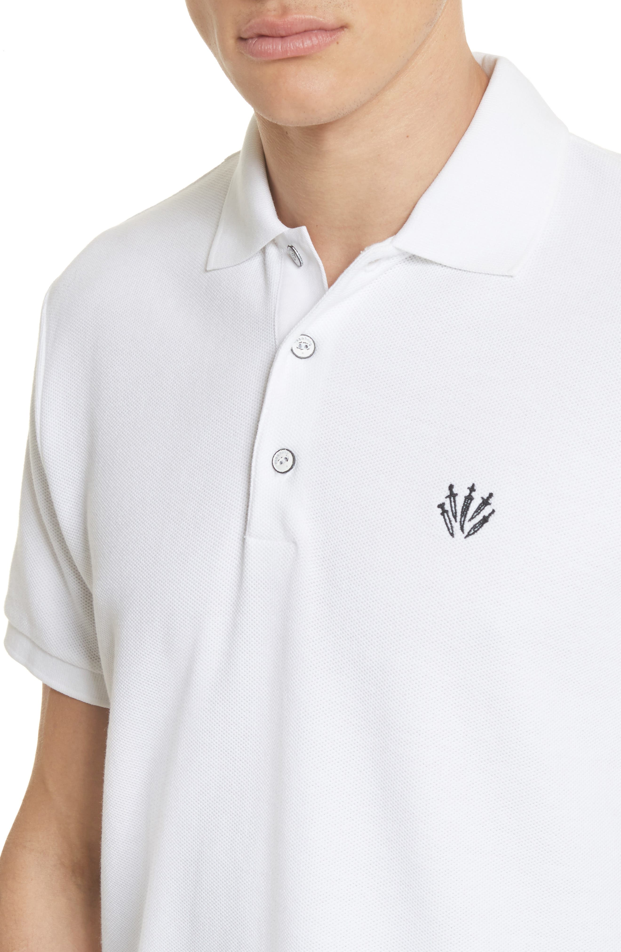 Embroidered Dagger Piqué Polo,                             Alternate thumbnail 4, color,                             White