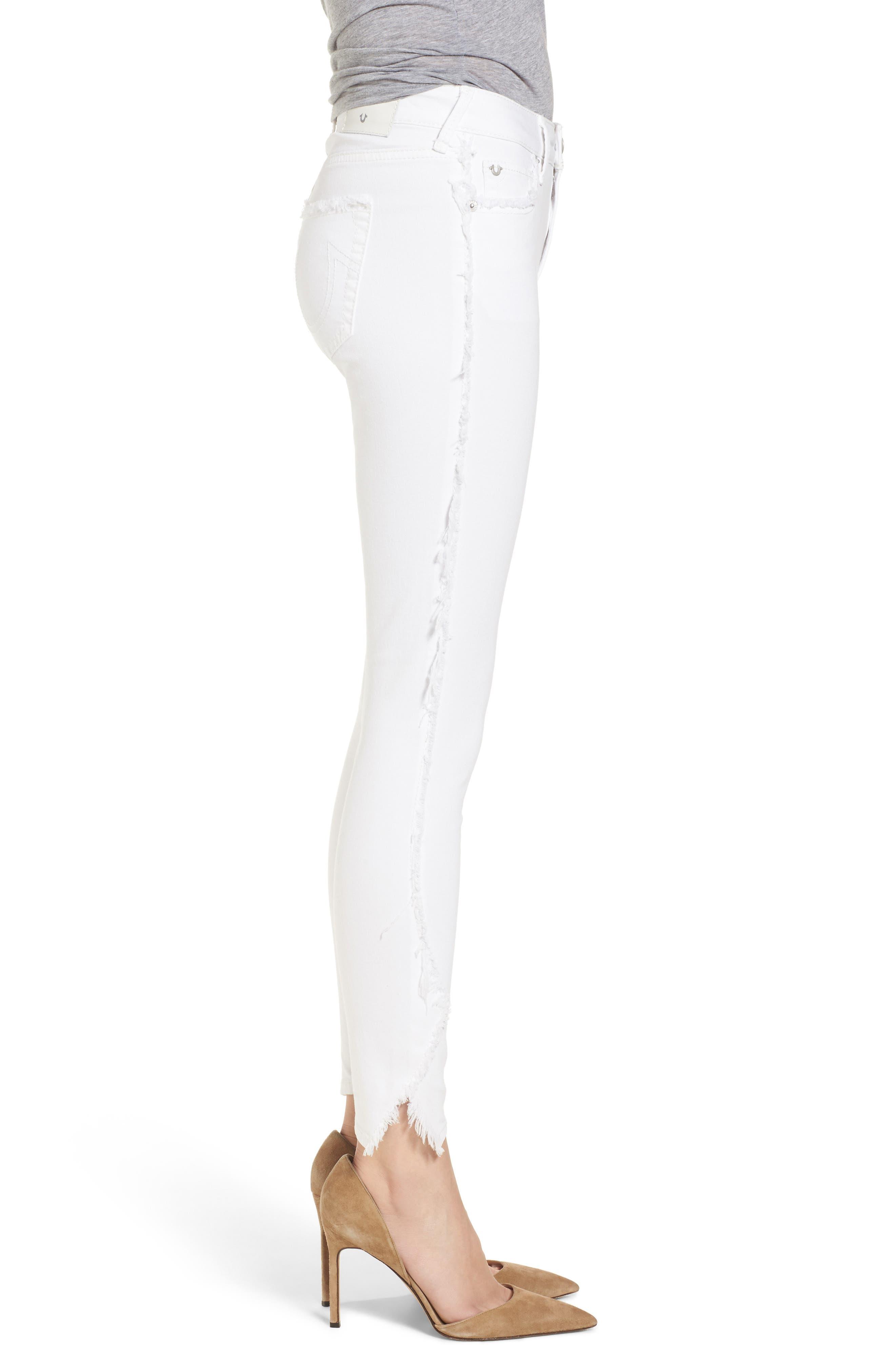 Jennie Curvy Skinny Jeans,                             Alternate thumbnail 3, color,                             Optic White