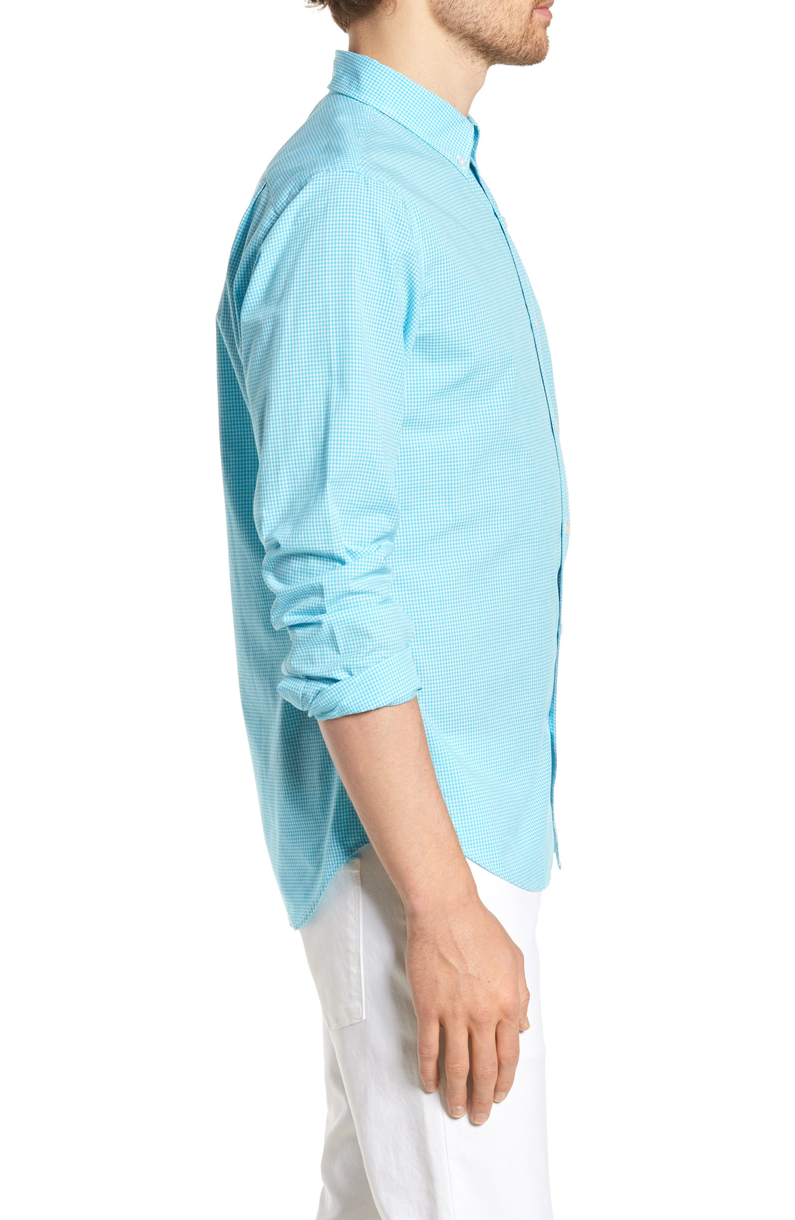 Slim Fit Summerweight Check Sport Shirt,                             Alternate thumbnail 4, color,                             Bondi Gingham - Scuba Blue