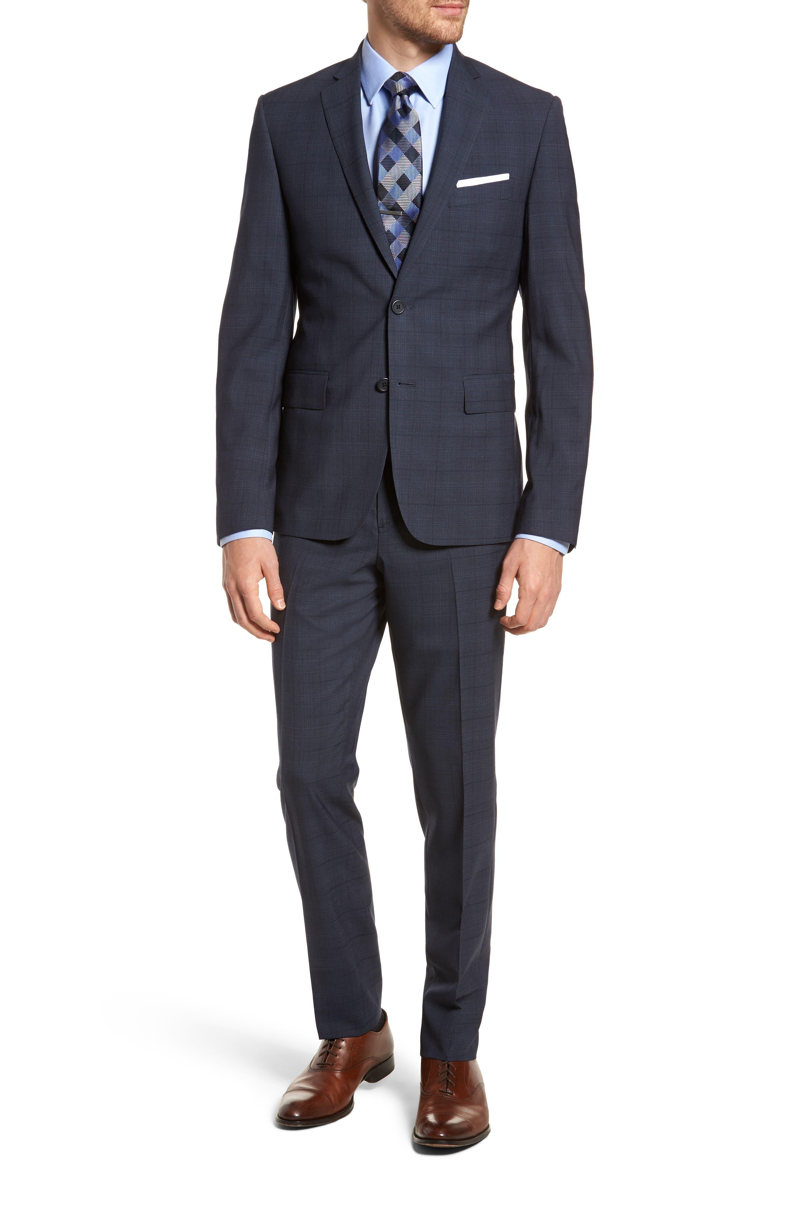 Extra Trim Fit Plaid Wool Suit,                         Main,                         color, Navy Blue