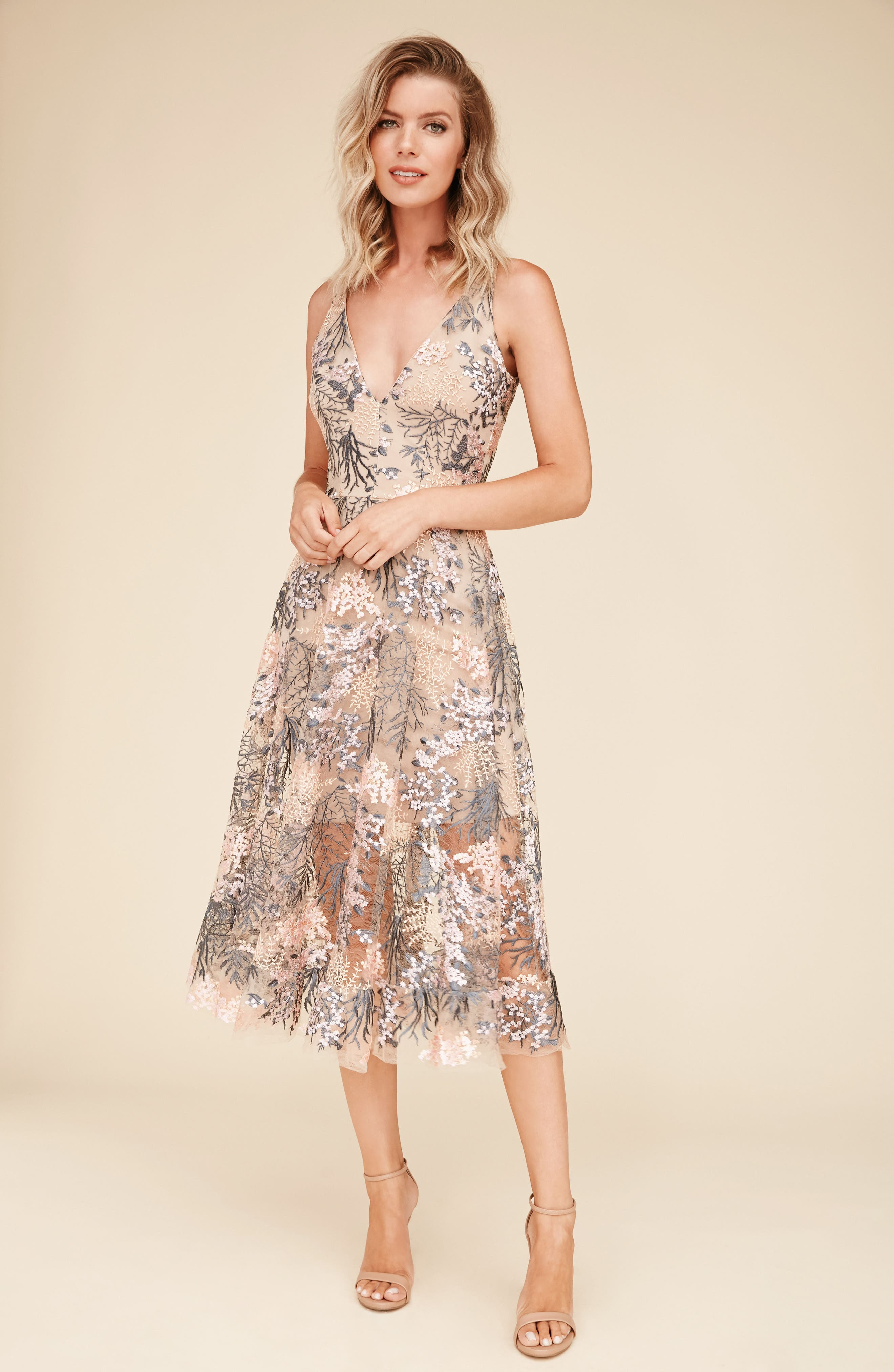 Alternate Image 5  - Dress the Population Audrey Embroidered Fit & Flare Dress
