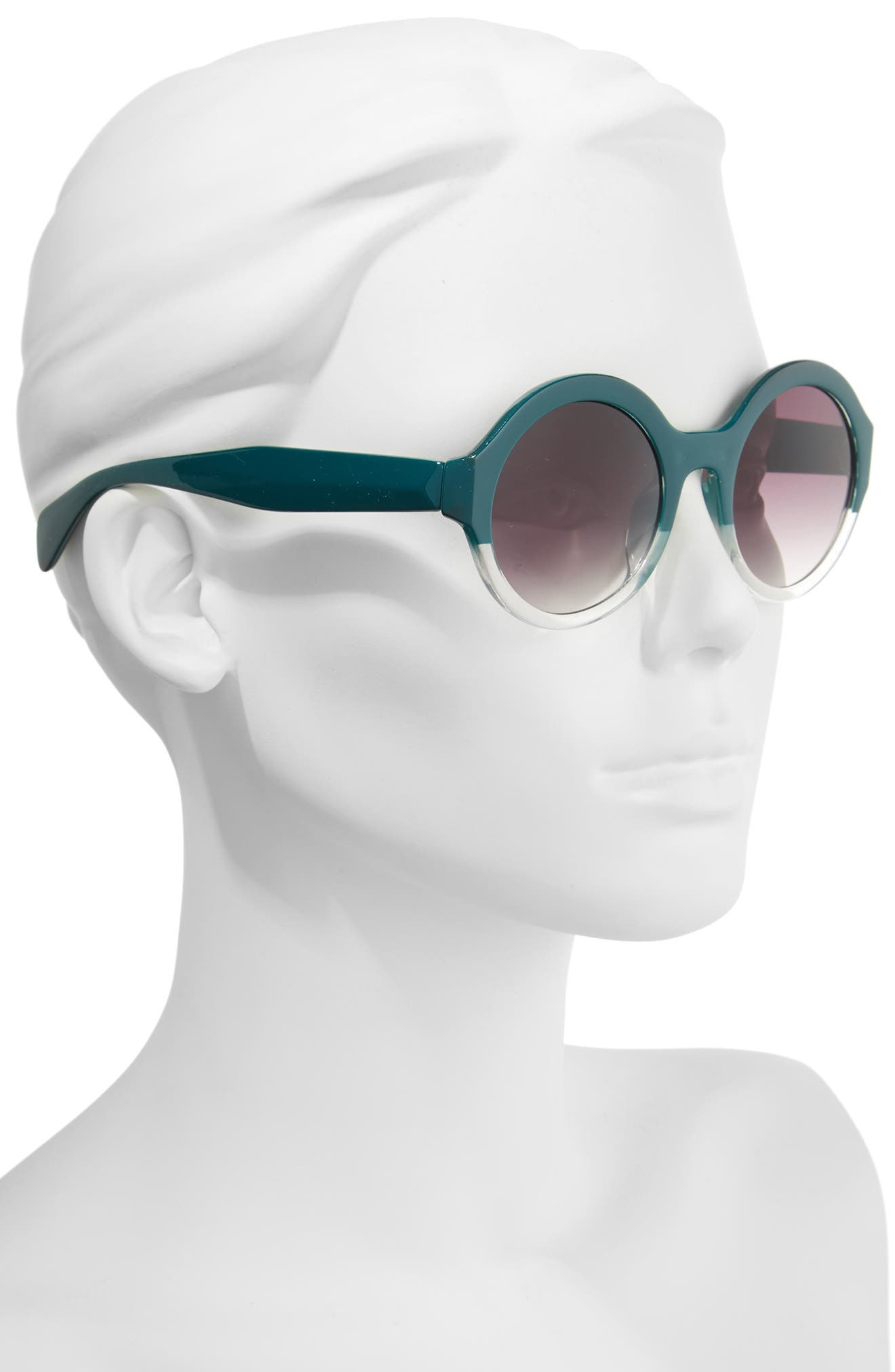 50mm Round 2 Tone Sunglasses,                             Alternate thumbnail 2, color,                             Emerald/ Clear