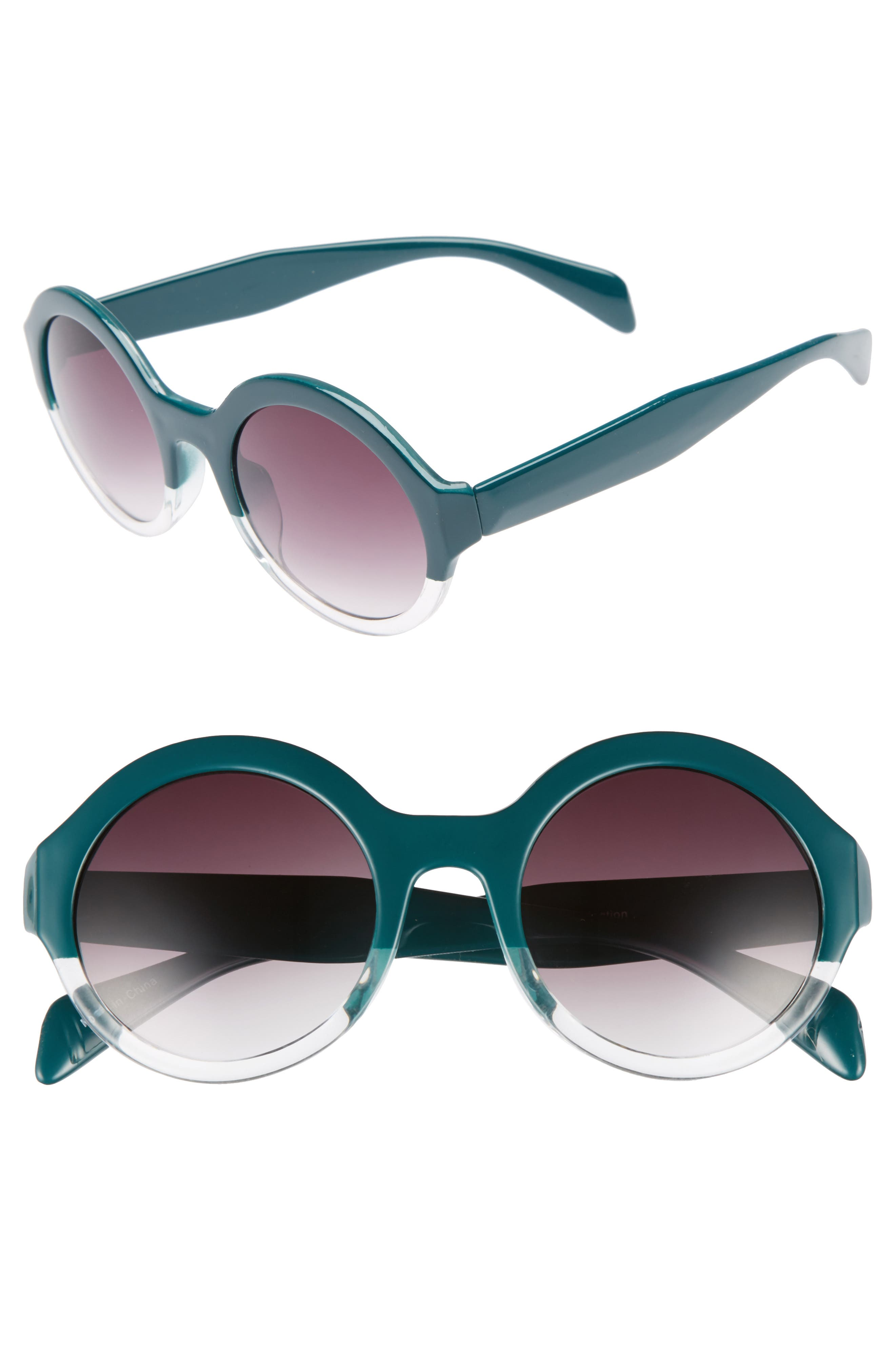 50mm Round 2 Tone Sunglasses,                             Main thumbnail 1, color,                             Emerald/ Clear