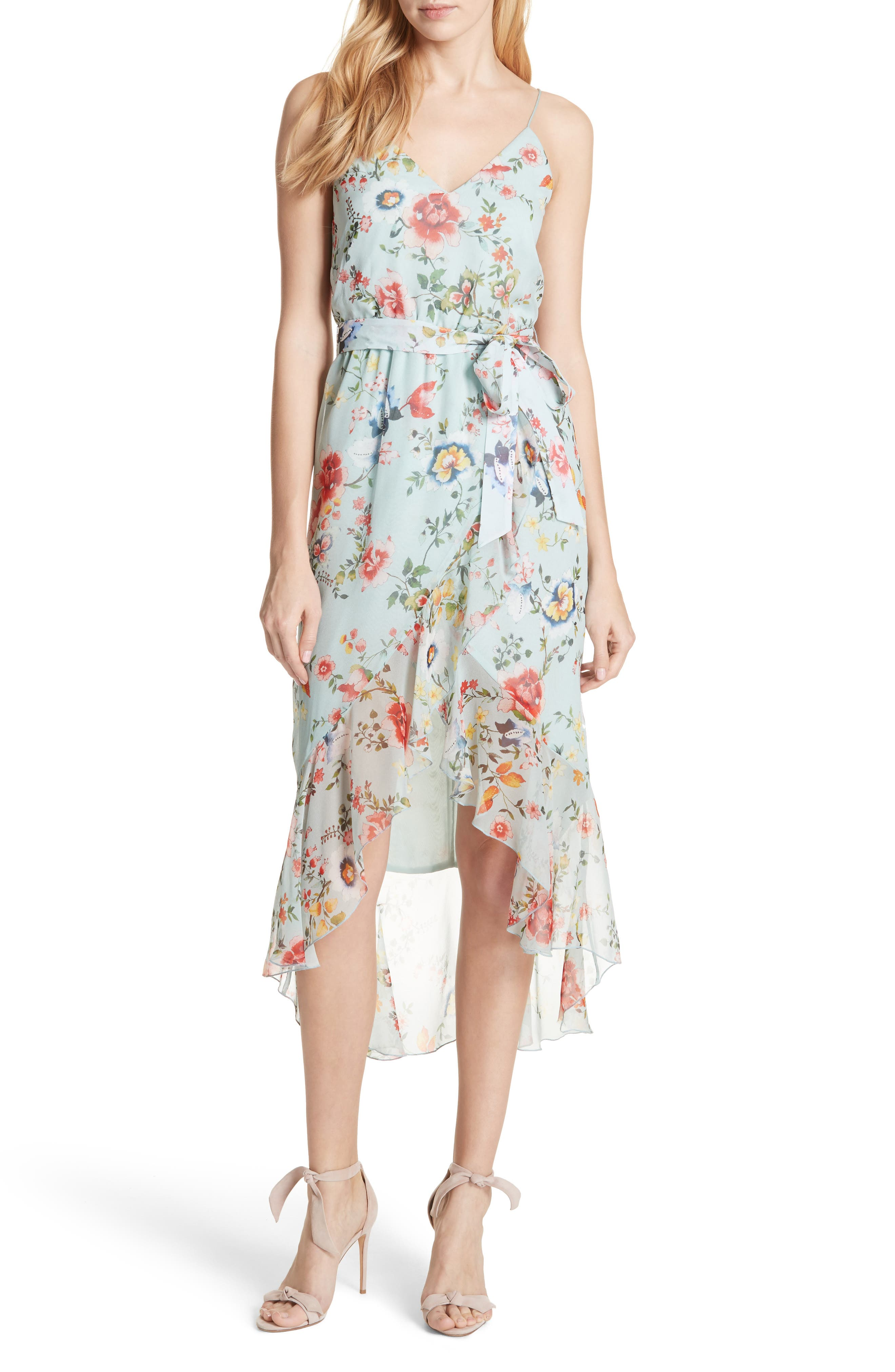 Mable Floral Silk Midi Dress,                         Main,                         color, Floral Soiree-Dusty Aqua