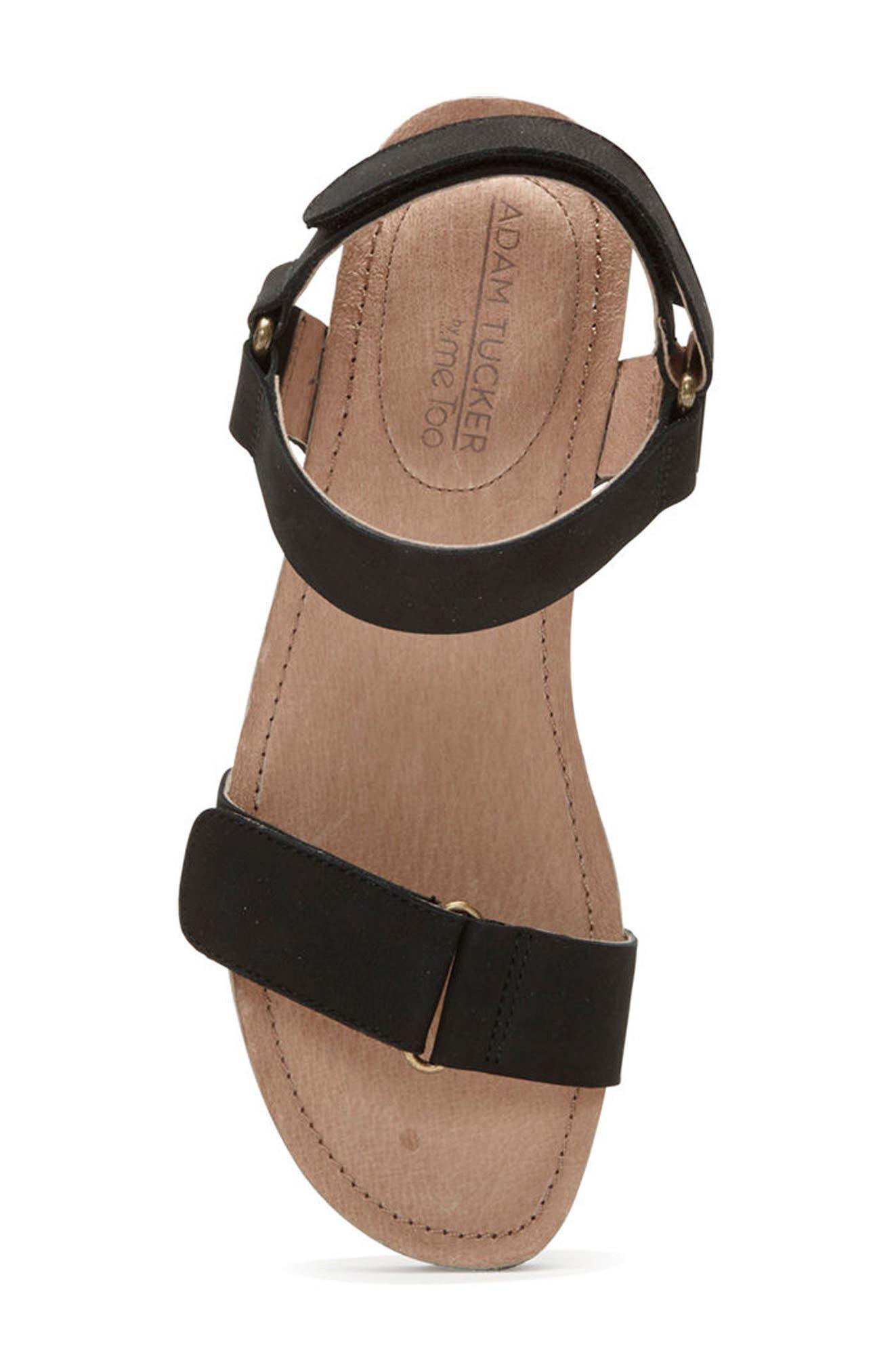 Adam Tucker Shea Wedge Sandal,                             Alternate thumbnail 5, color,                             Black Nubuck Leather