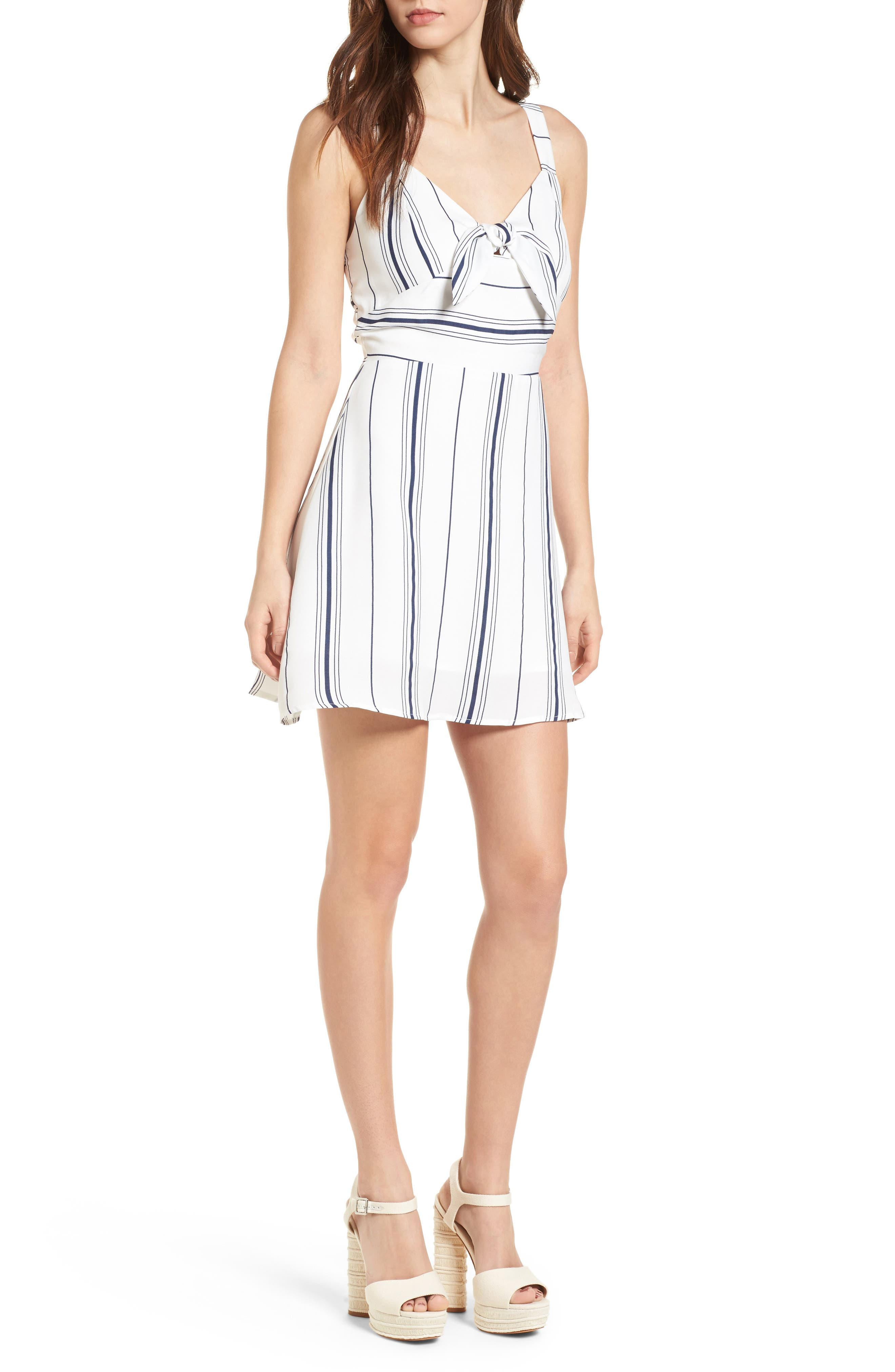 Tie Front Minidress,                         Main,                         color, White/ Navy