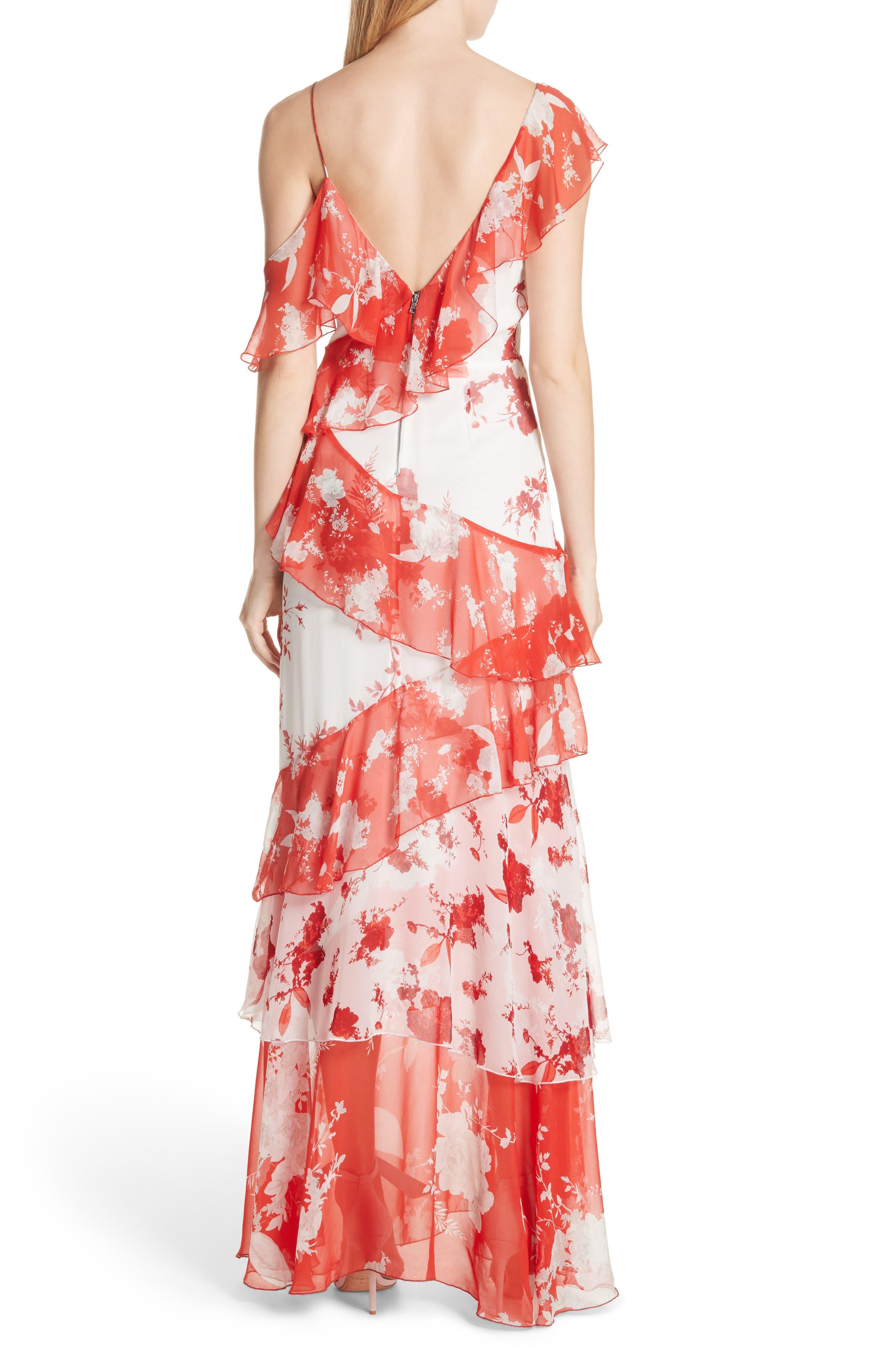 Olympia Asymmetrical Silk Maxi Dress,                             Alternate thumbnail 2, color,                             Damask Rose- Soft White