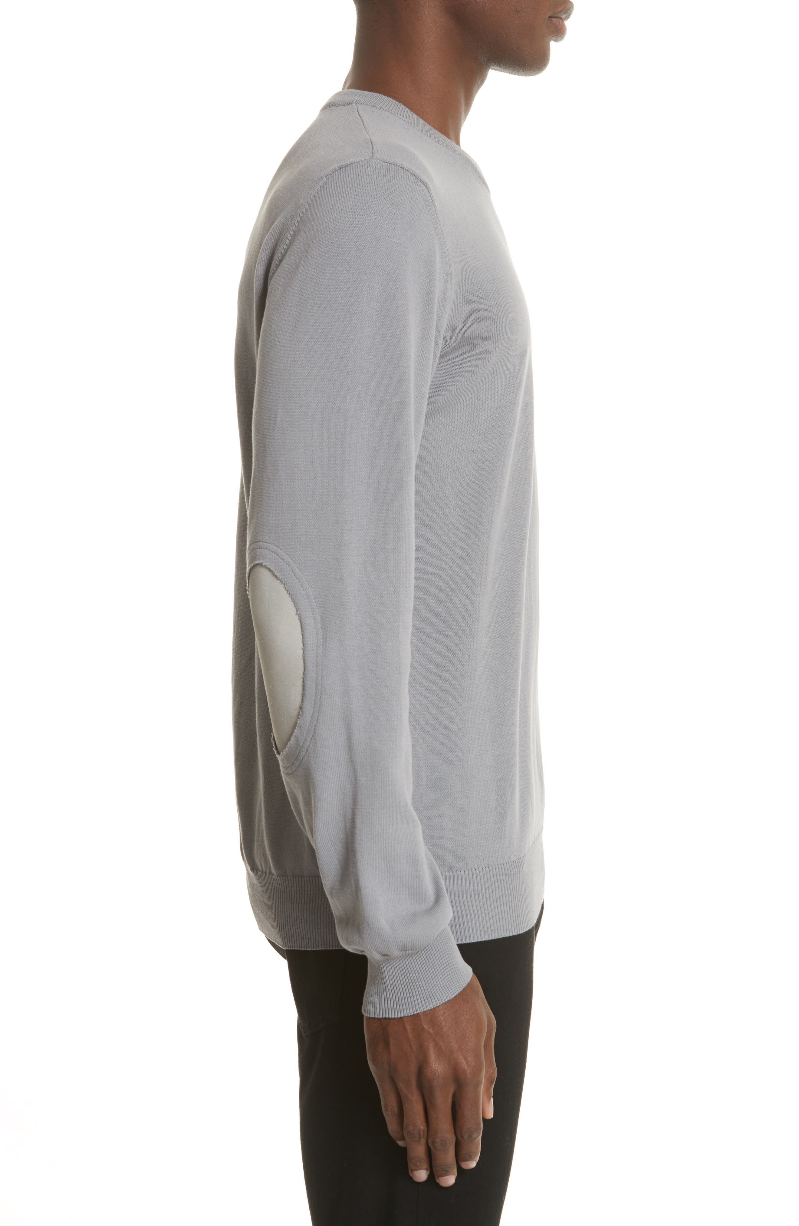 Jersey Cotton Sweater with Elbow Patches,                             Alternate thumbnail 3, color,                             Grey