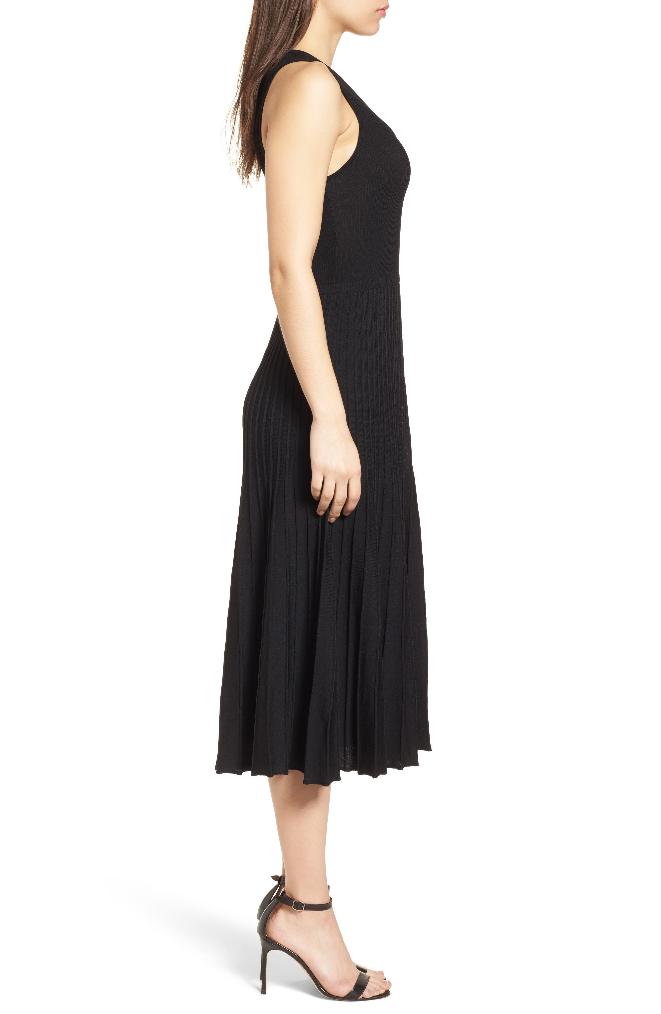 New York Pleated Sweater Midi Dress,                             Alternate thumbnail 3, color,                             Black