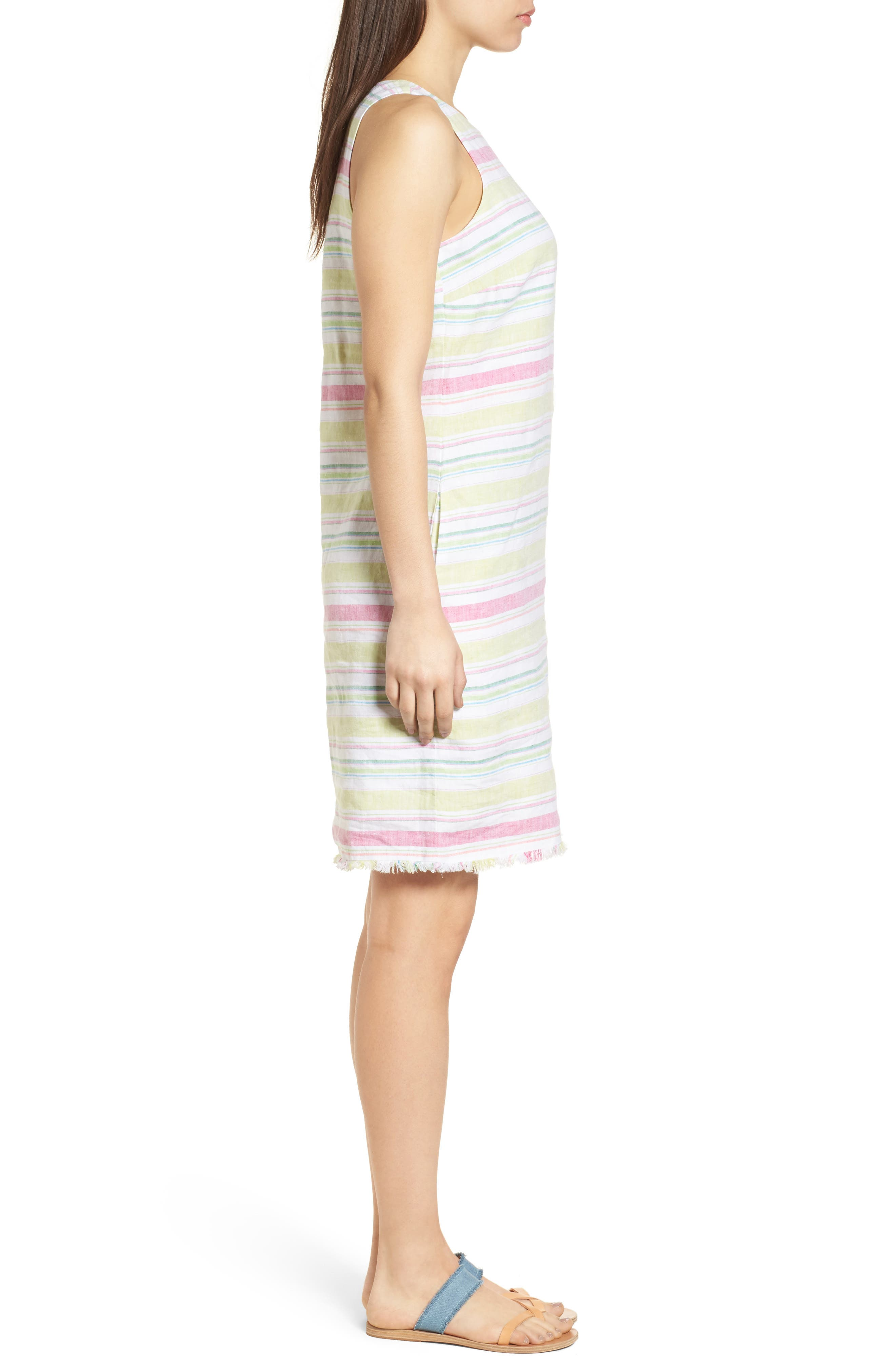 Tulum Stripe Shift Dress,                             Alternate thumbnail 3, color,                             Energy Yellow