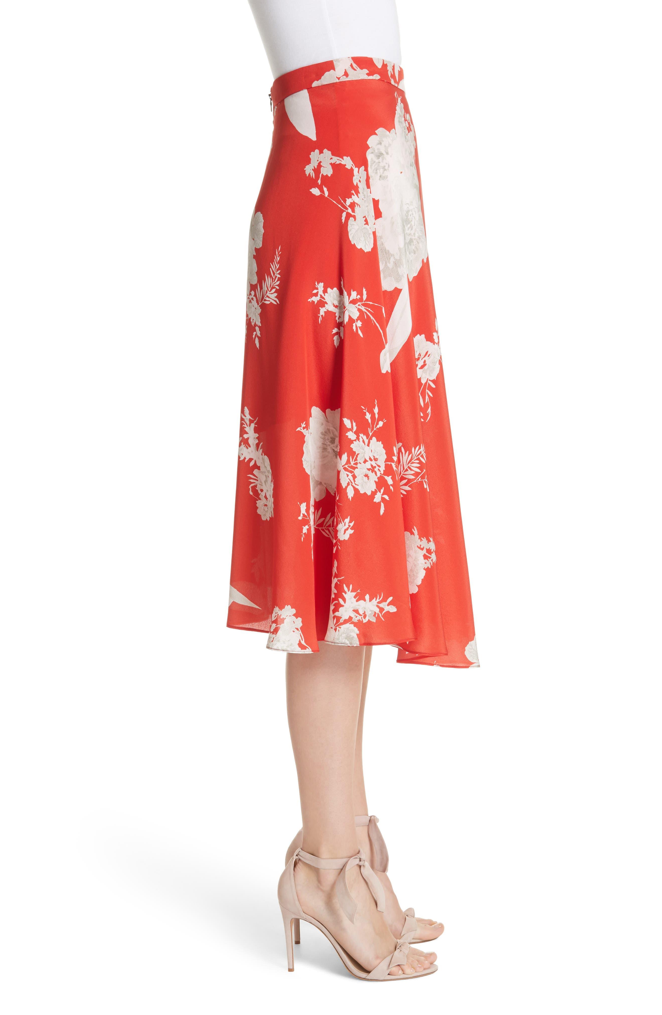 Nanette Faux Wrap Floral Silk Skirt,                             Alternate thumbnail 3, color,                             Damask Rose- Poppy